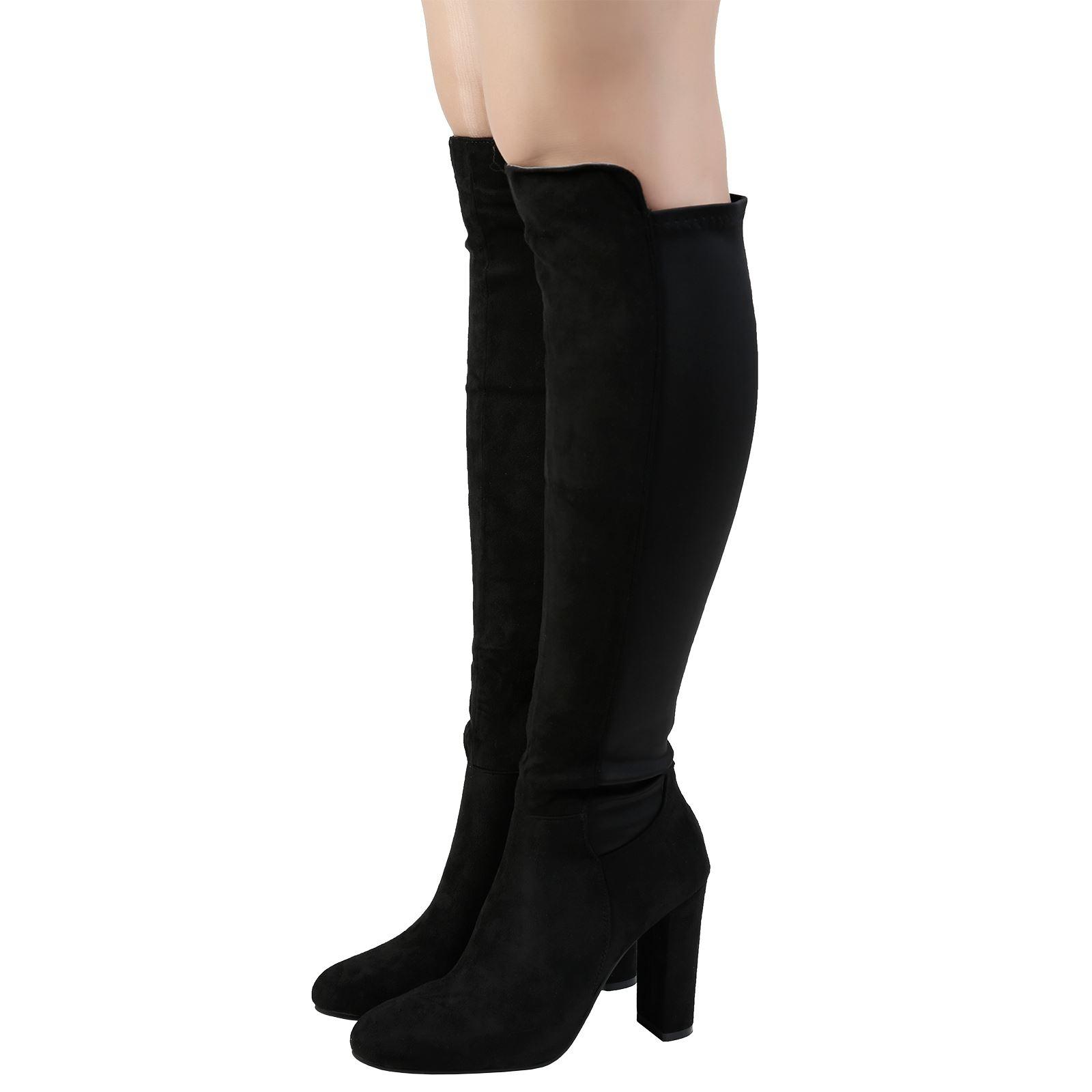 Botas Para Mujer Damas Tacón Hasta La Rodilla Pantorrilla Bloque Elástico Largo Equitación zapatos Talla Nuevo
