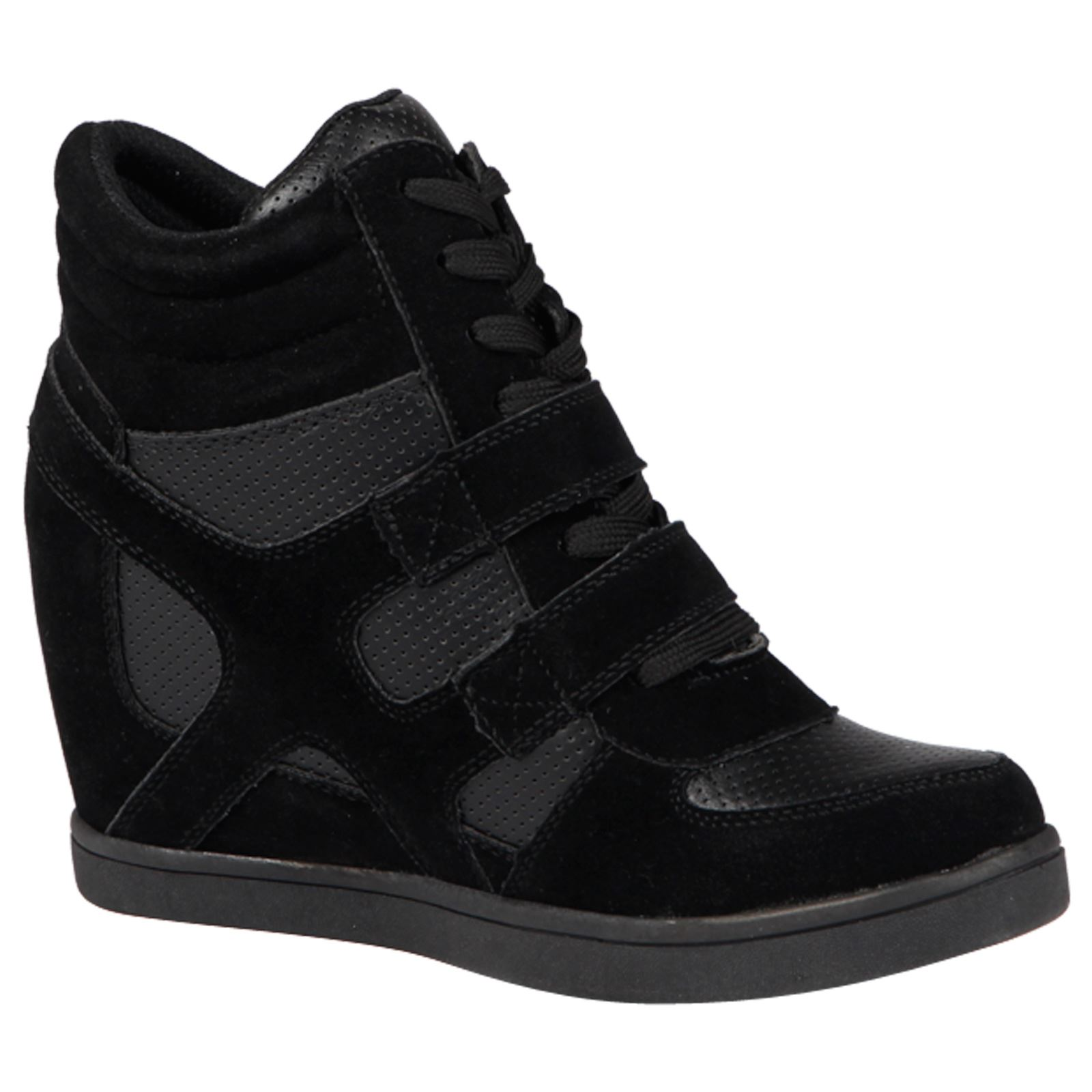 ca613a8bd900 WOMENS SHOES LADIES WEDGES TRAINERS LACE UP HIGH TOP BOOTS ANKLE MID ...