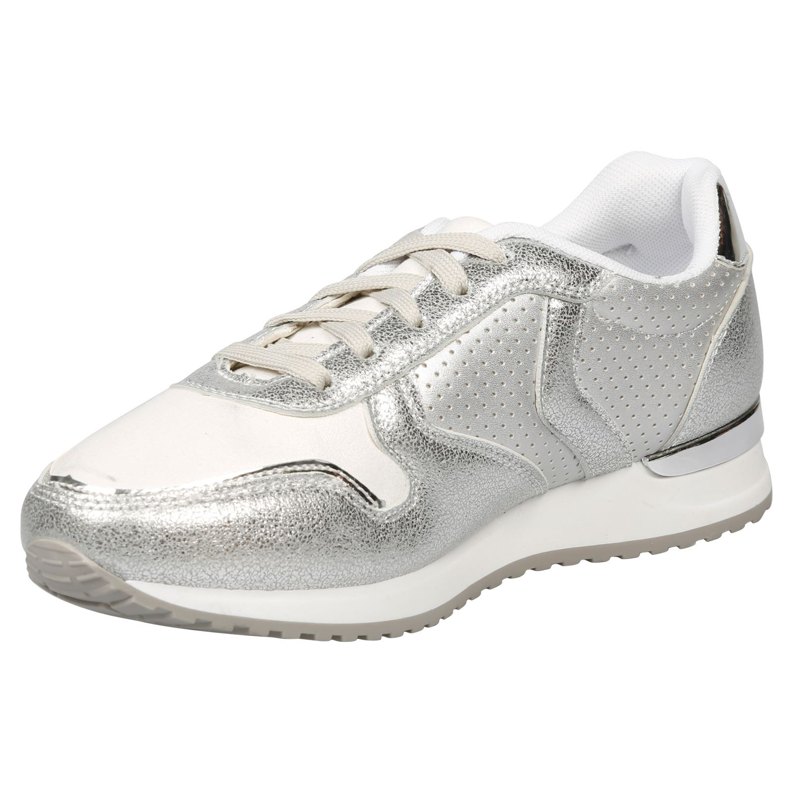Mujer-Zapatos-De-Tacon-Bajo-Pisos-Shanon-Con-Cordones-Zapatillas-Damas-Metalico-Zapatos-Casuales