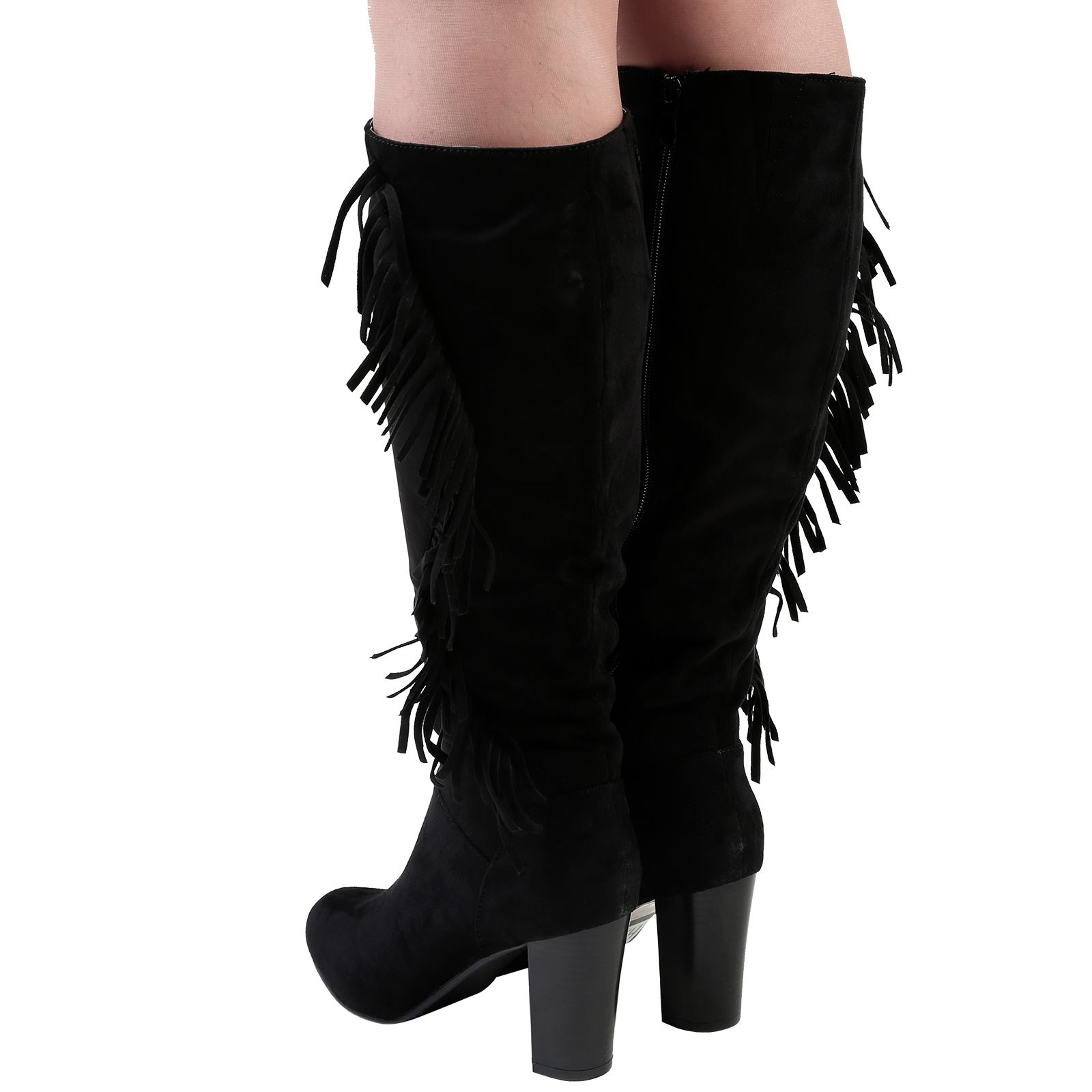 Kayla Womens Mid High Block Heel Fringed Tassel Knee Boots Ladies Shoes Size New | EBay