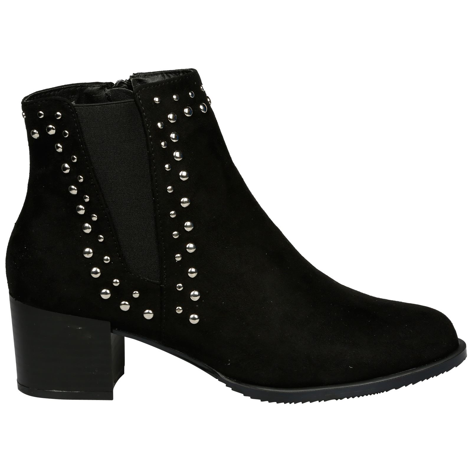Luna-Womens-Low-Mid-Block-Heel-Studded-Chelsea-Zip-Up-Ankle-Boots-Casual-Ladies thumbnail 3