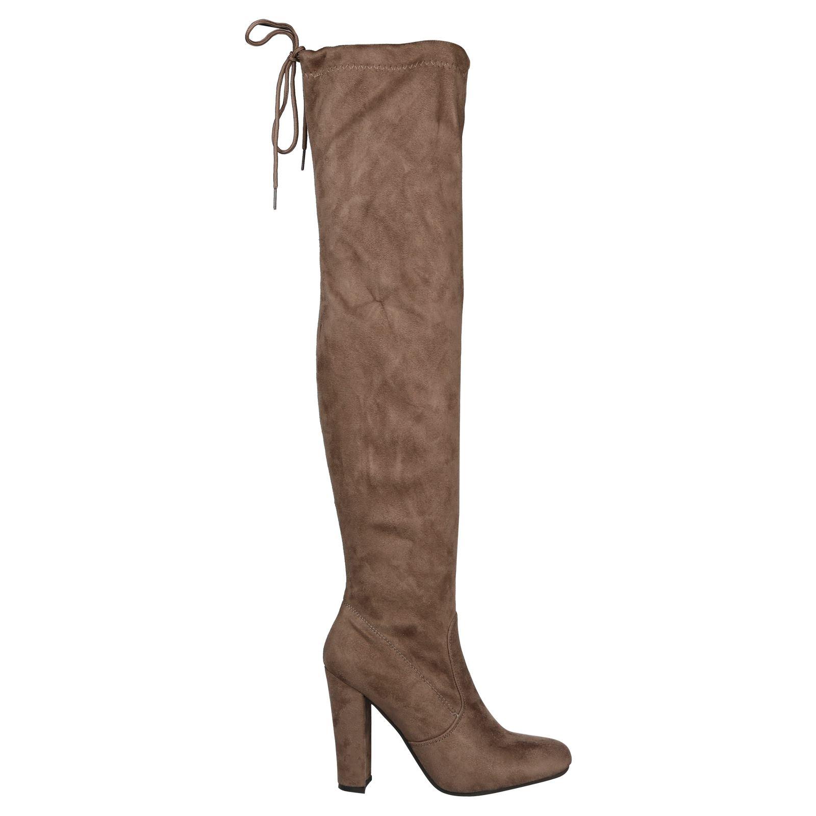 Iliana-Womens-Knee-High-Zip-Up-Adjustable-Pull-Strings-Mid-High-Block-Heel-Boots thumbnail 7