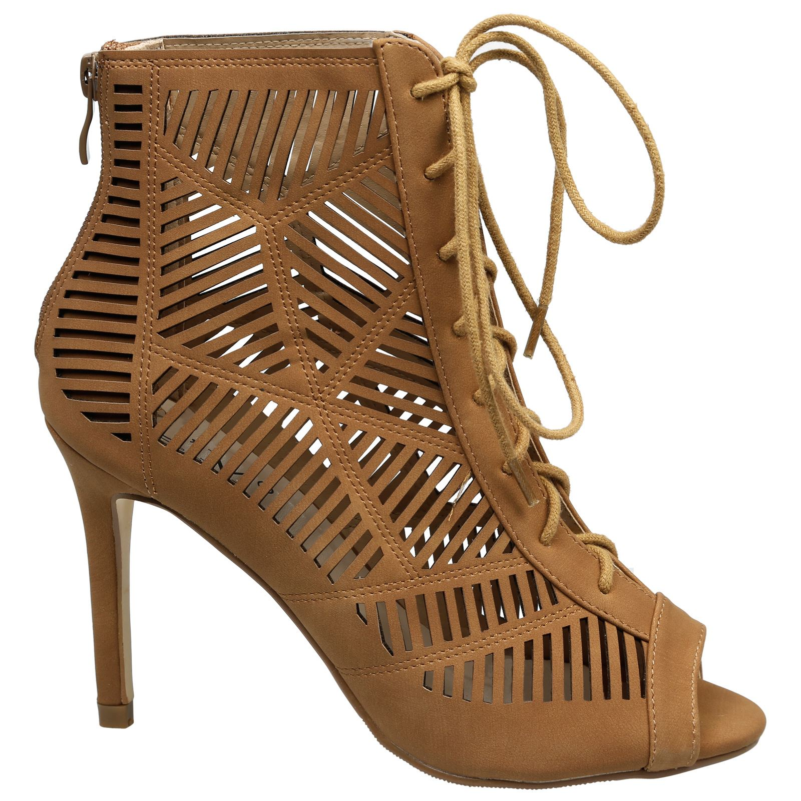 Anais-Womens-High-Heels-Stilettos-Lace-Up-Peep-Toe-Ankle-Boots-Ladies-Shoes-Size thumbnail 7