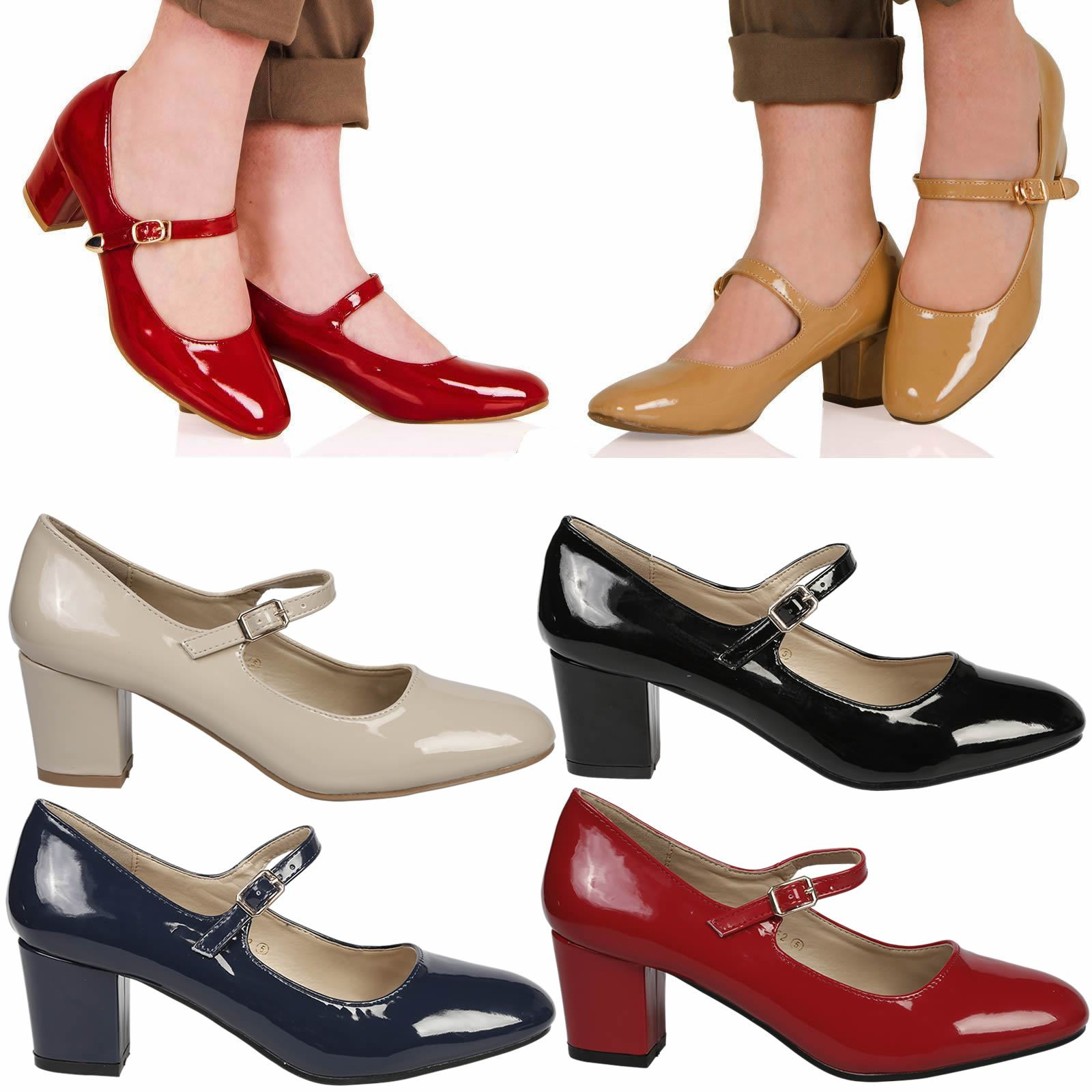 d8c9ca6adae9 Details about Xanthe Womens Low Mid Block Heels Mary Janes Smart Ladies  Court Shoes Pumps Size
