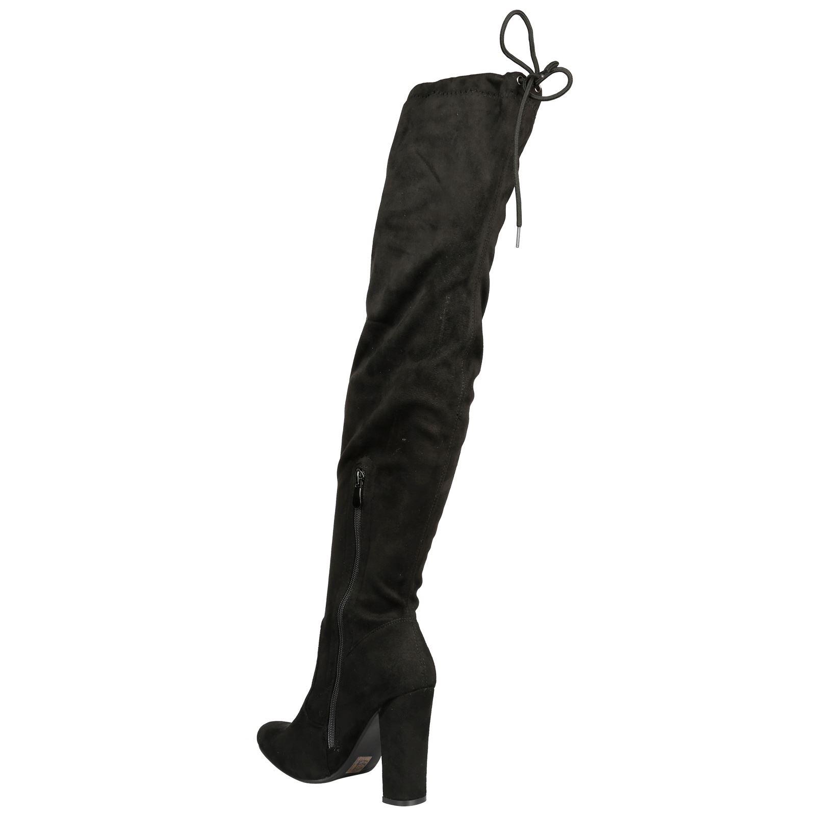 Iliana-Womens-Knee-High-Zip-Up-Adjustable-Pull-Strings-Mid-High-Block-Heel-Boots thumbnail 5