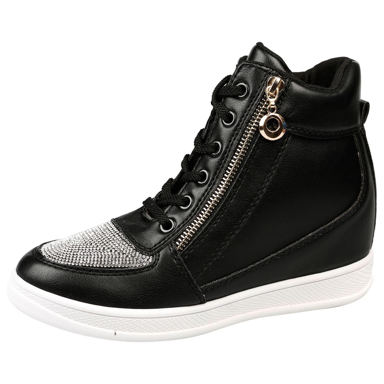 Mujer Zapatos Damas Botas al Tobillo High Top Zapatillas Cuña Oculta Talla Diamante Nuevo