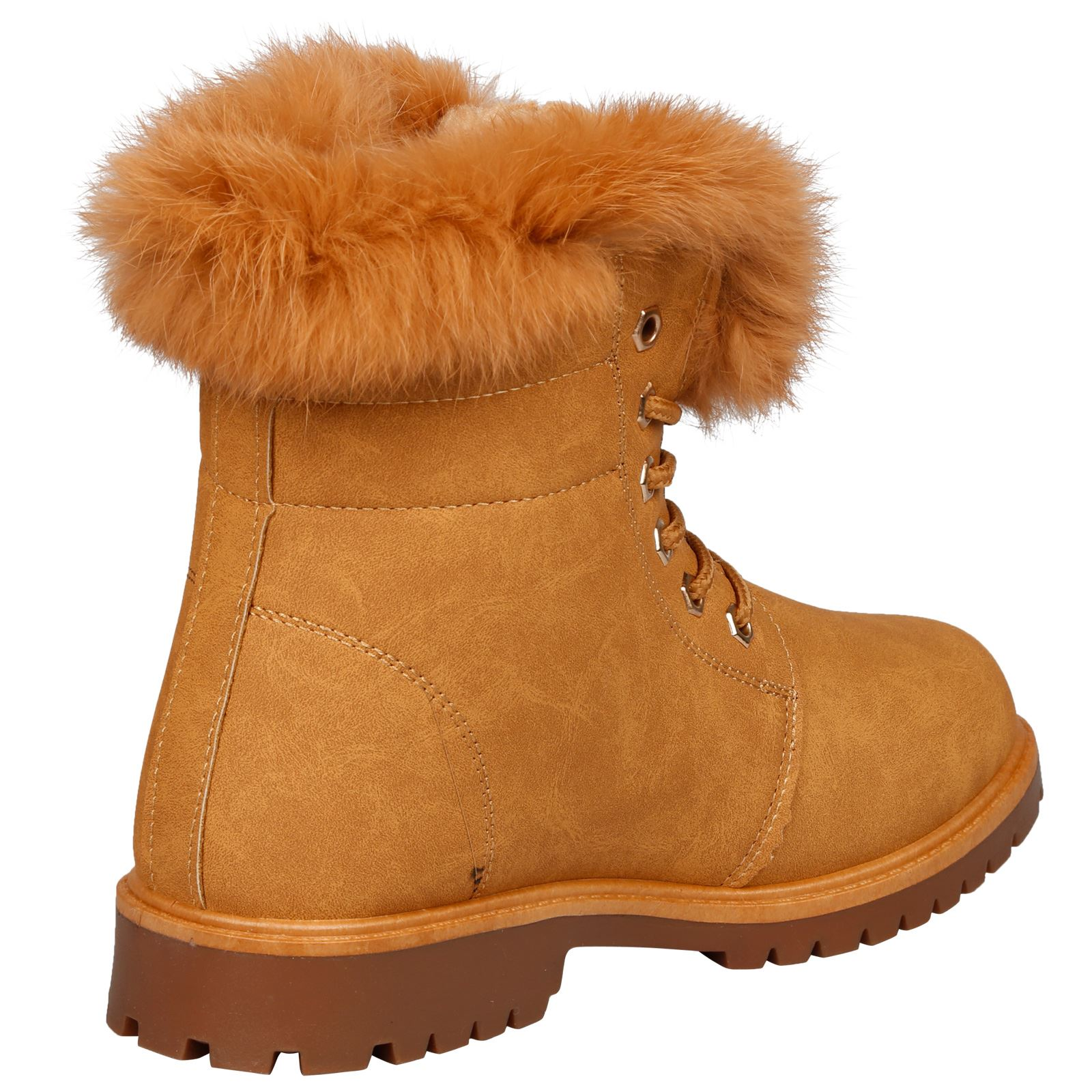 NEW-WOMEN-SHOES-LADIES-FUR-LINED-LOW-HEEL-LACE-UP-ANKLE-BOOTS-CASUAL-STYLE-SIZE thumbnail 14