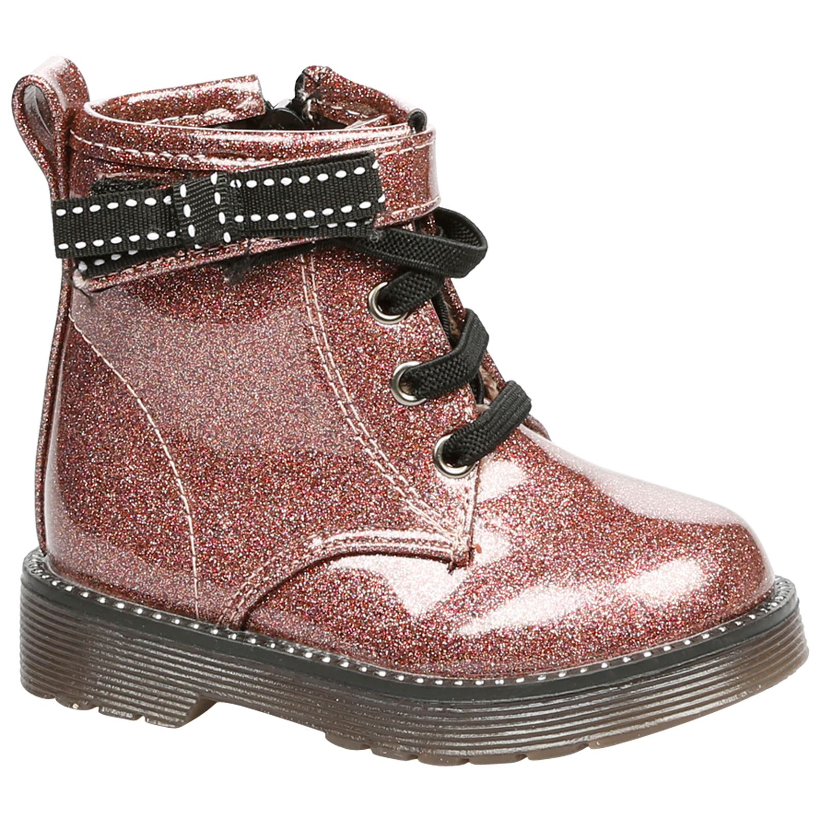 Alexis Girls Toddlers Flats Low Heels Glitter Sparkle Lace Up Ankle Boots Shoes
