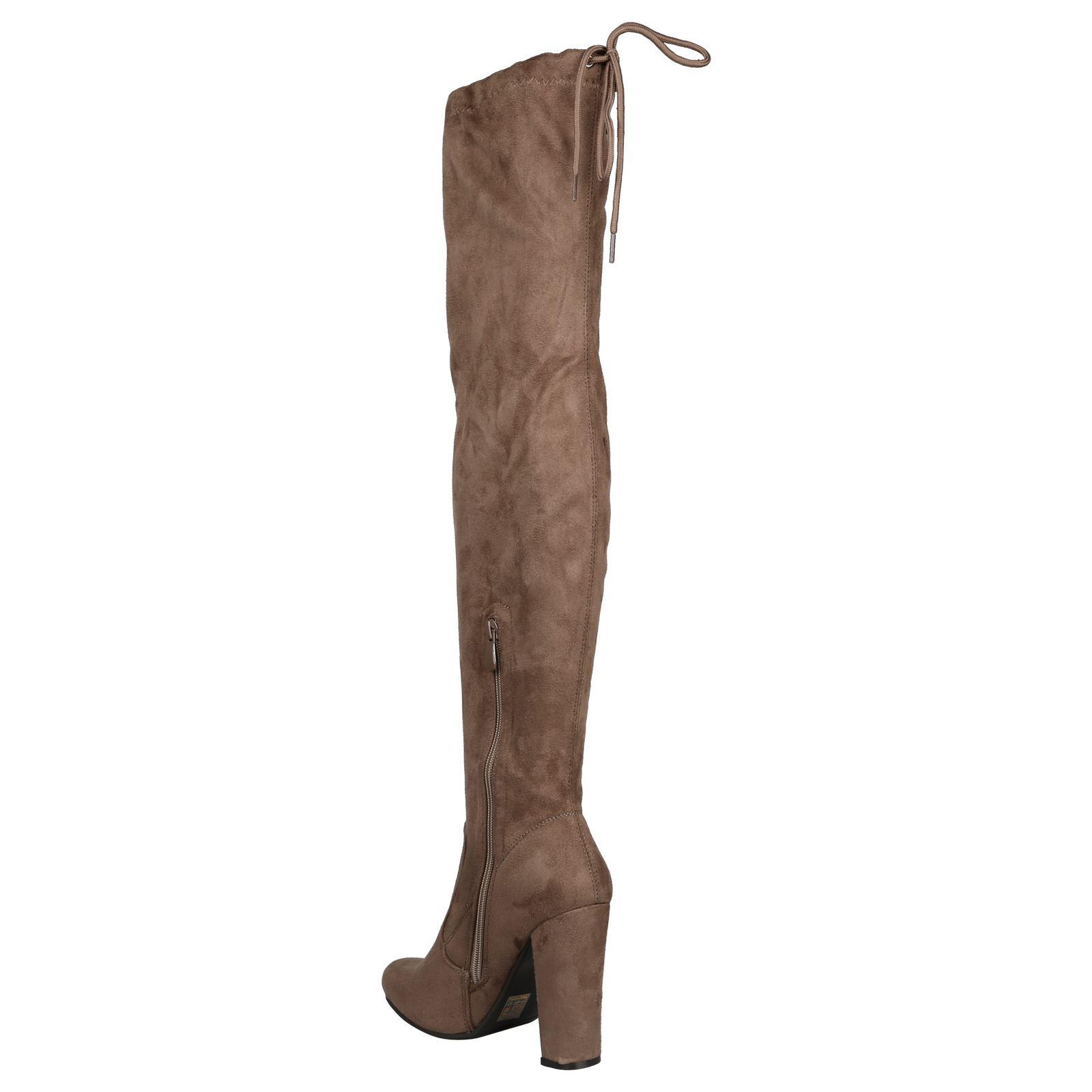 Iliana-Womens-Knee-High-Zip-Up-Adjustable-Pull-Strings-Mid-High-Block-Heel-Boots thumbnail 9
