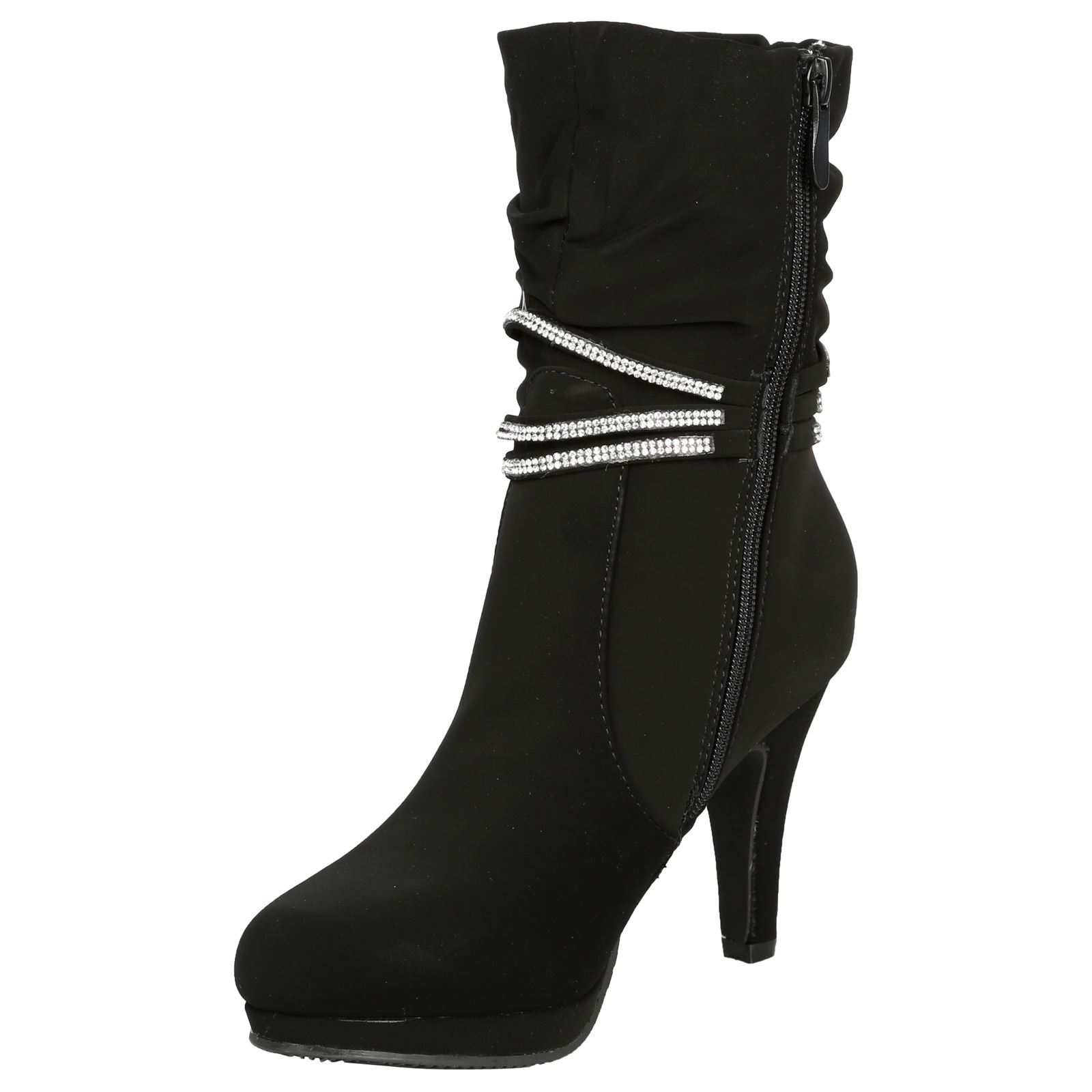 Estrella-Womens-Slim-High-Heel-Diamante-Strap-Slouch-Ankle-Boots-Casual-Style thumbnail 4