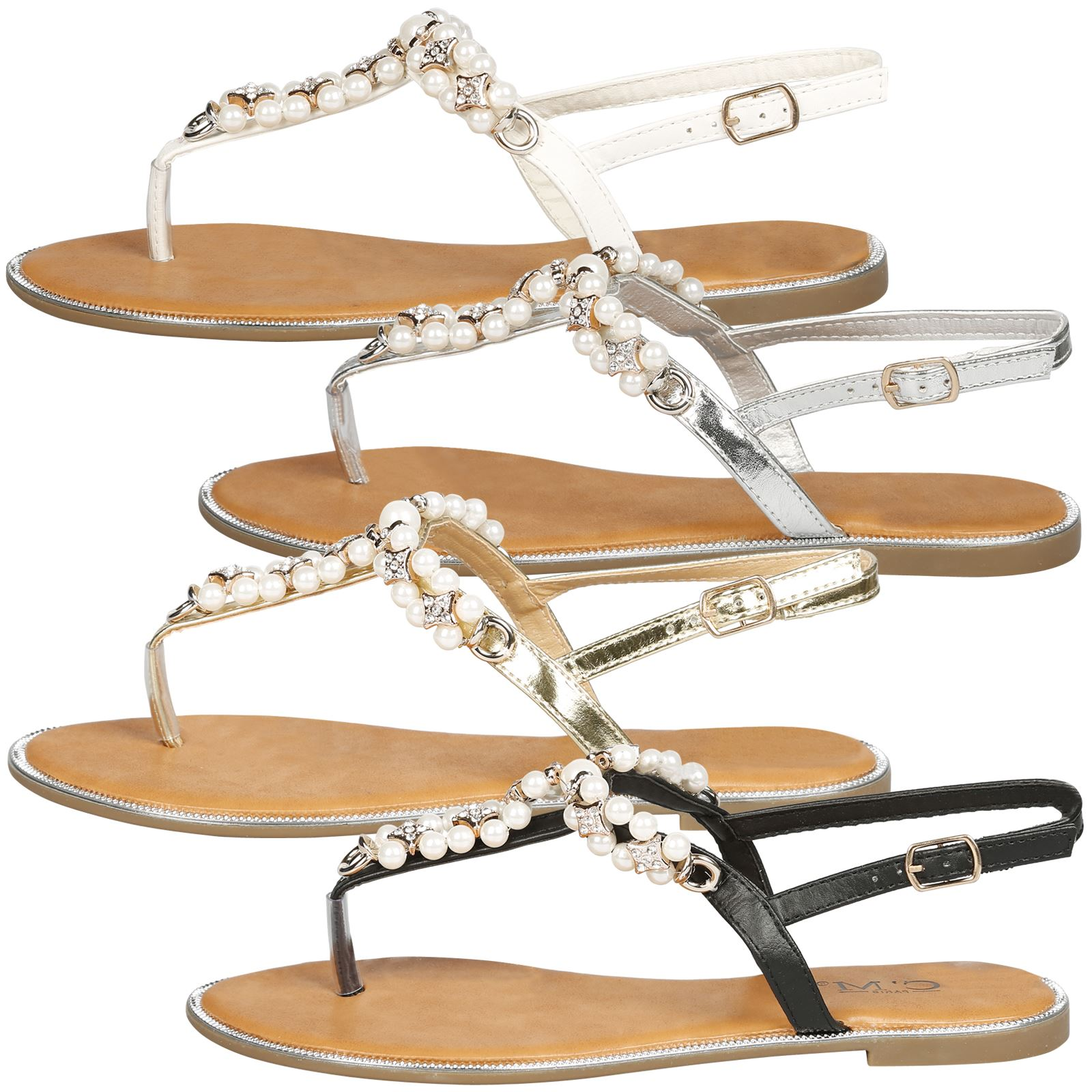 Details about WOMENS NEW LADIES THONG PEARL STYLE SUMMER DRESS BEACH CRYSTAL  STRAPPY SANDALS