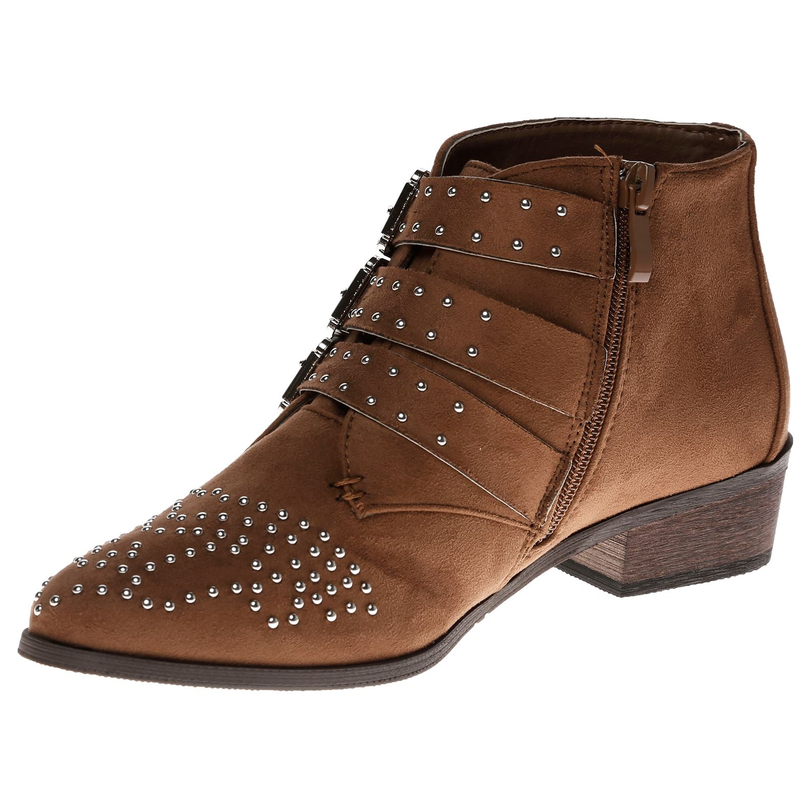 Liv-Womens-Flats-Low-Heels-Buckle-Strappy-Biker-Ankle-Boots-Ladies-Shoes-Studded thumbnail 16