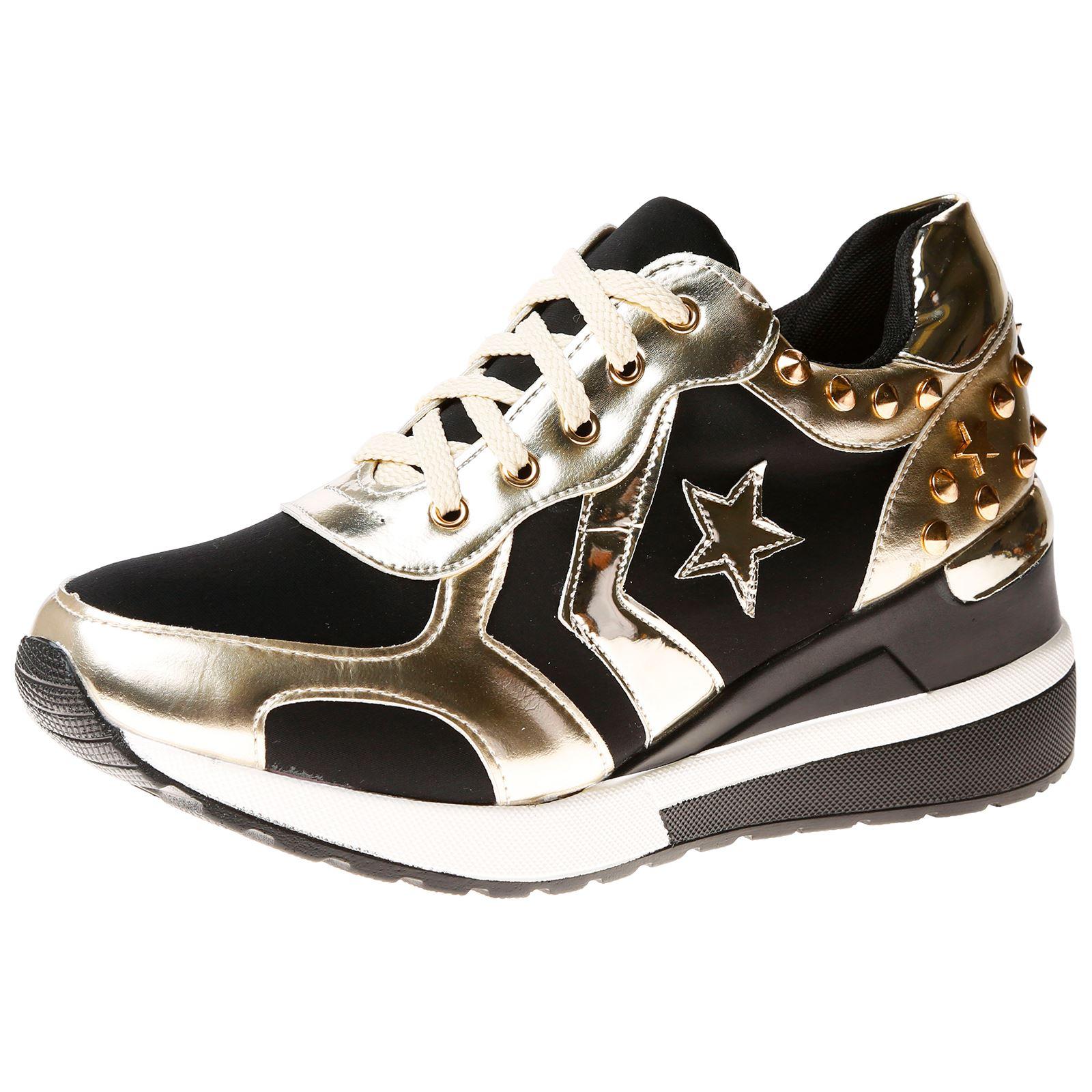 Mujer Zapatos Zapatillas de las bombas de las Señoras Zapatillas tachuelas estrella cuñas grueso tamaño NUEVO