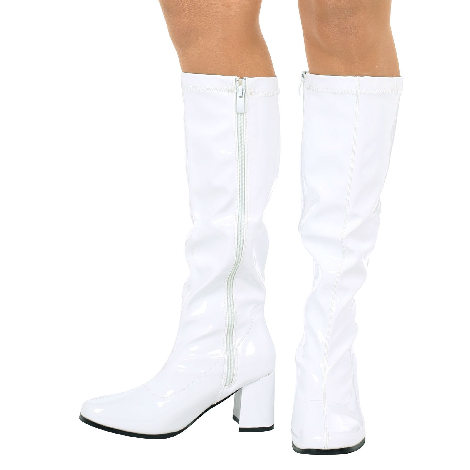 Big Discount Knee High Boots  Fancy Dress White Patent Party Boots