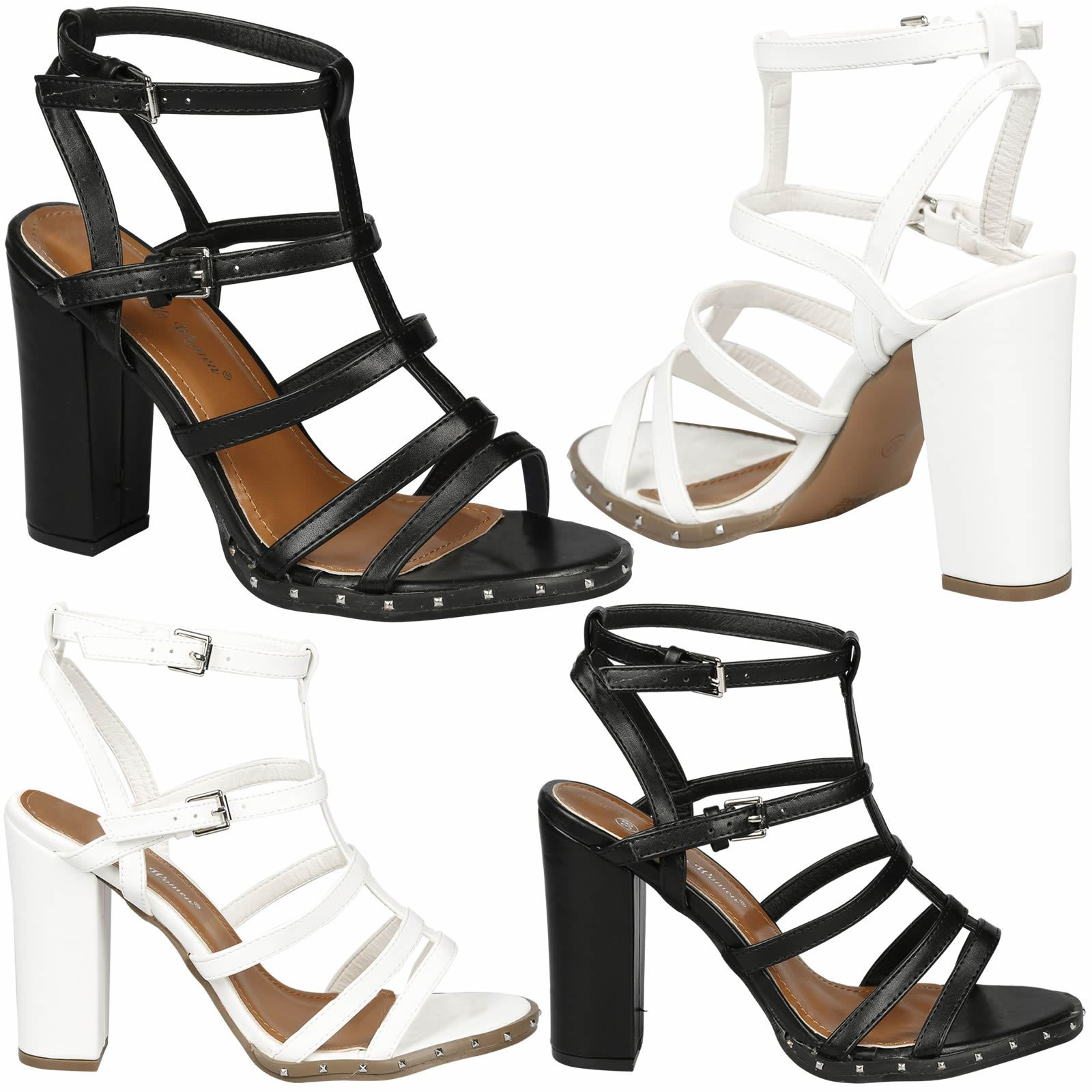 426c64f9a1a Details about Tianna Womens High Block Heel Strappy Studded Ankle Strap Gladiator  Sandals Size