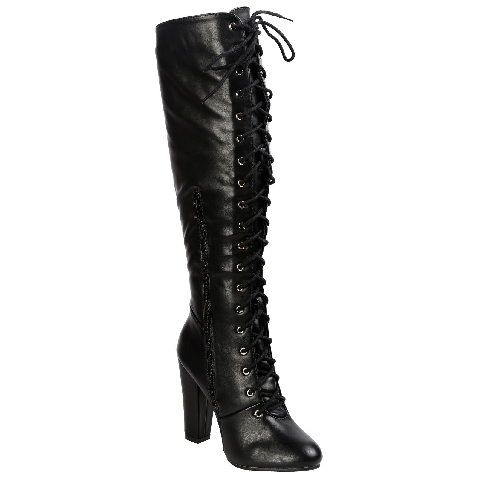 WOMENS-BOOTS-LADIES-KNEE-HIGH-MID-CALF-LACE-UP-BLOCK-HEEL-PARTY-CASUAL-SIZE-NEW