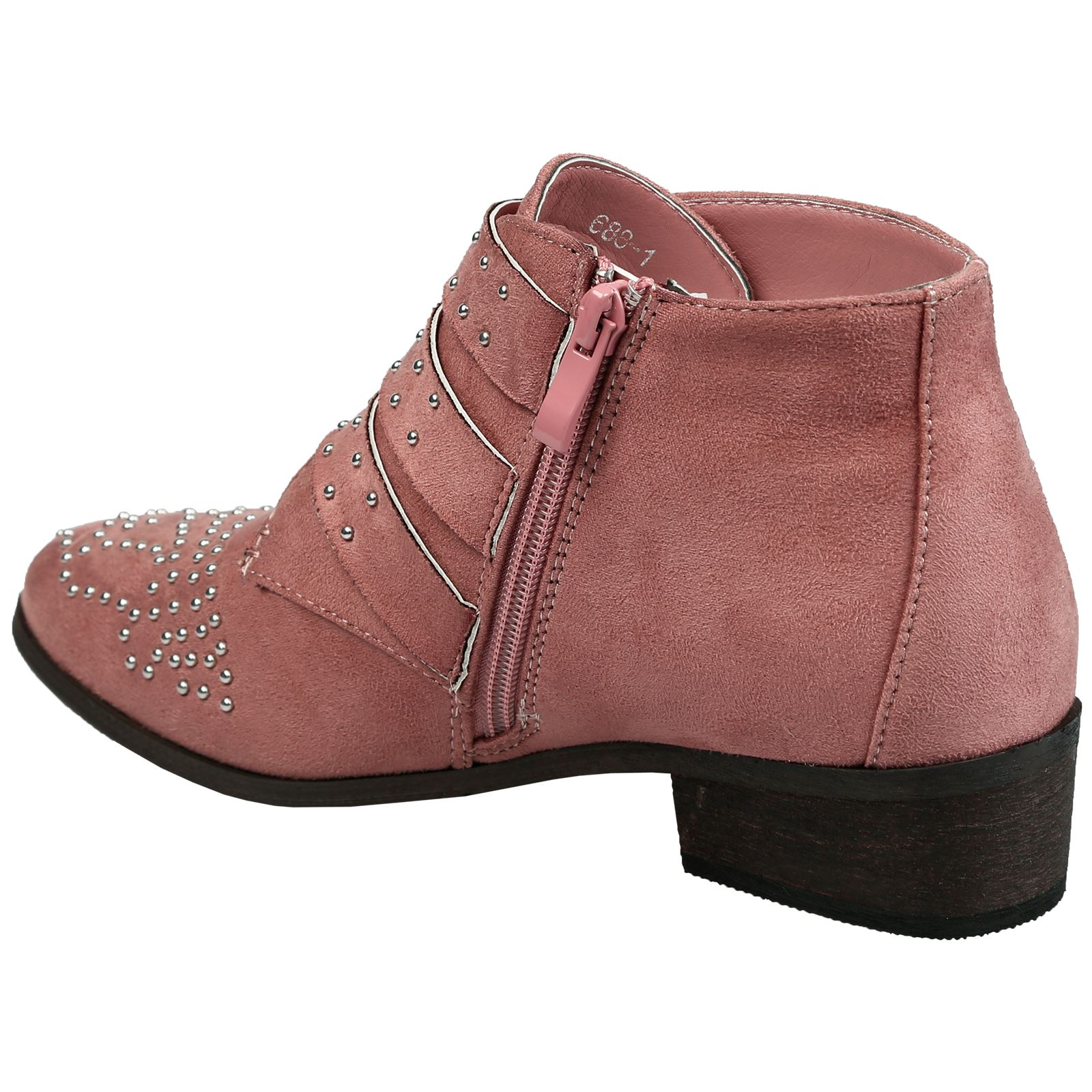 Liv-Womens-Flats-Low-Heels-Buckle-Strappy-Biker-Ankle-Boots-Ladies-Shoes-Studded thumbnail 29