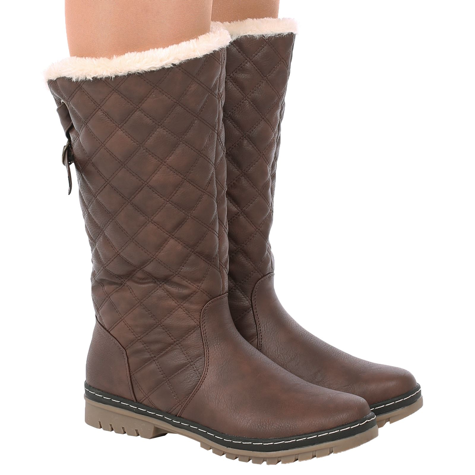 S2A Womens Ladies Beige Fur Lined Quilted Rain Moon Ski