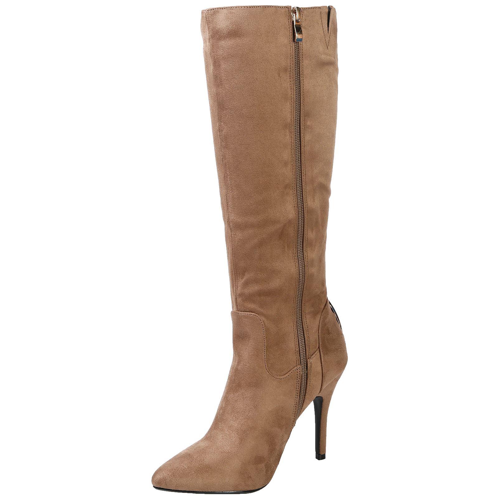 Martina-Mujer-Zapatos-De-Taco-Alto-Botas-De-Las-Senoras-De-Cremallera-Hasta-Mitad-de-Pantorrilla