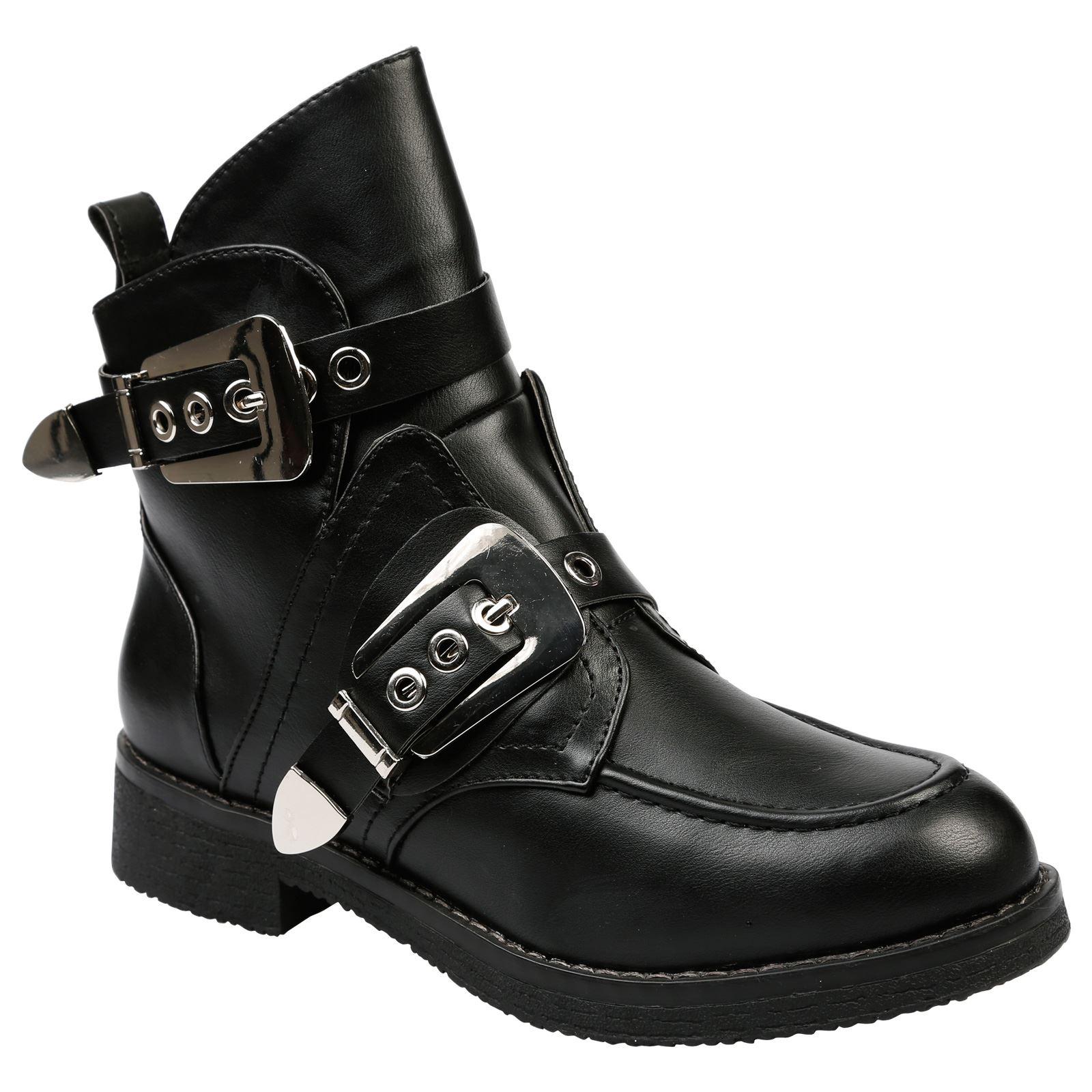 Bernadette-tacon-bajo-para-mujer-Grueso-Tacon-Bajo-Botas-al-Tobillo-Zapatos-De-Las-Senoras-Biker