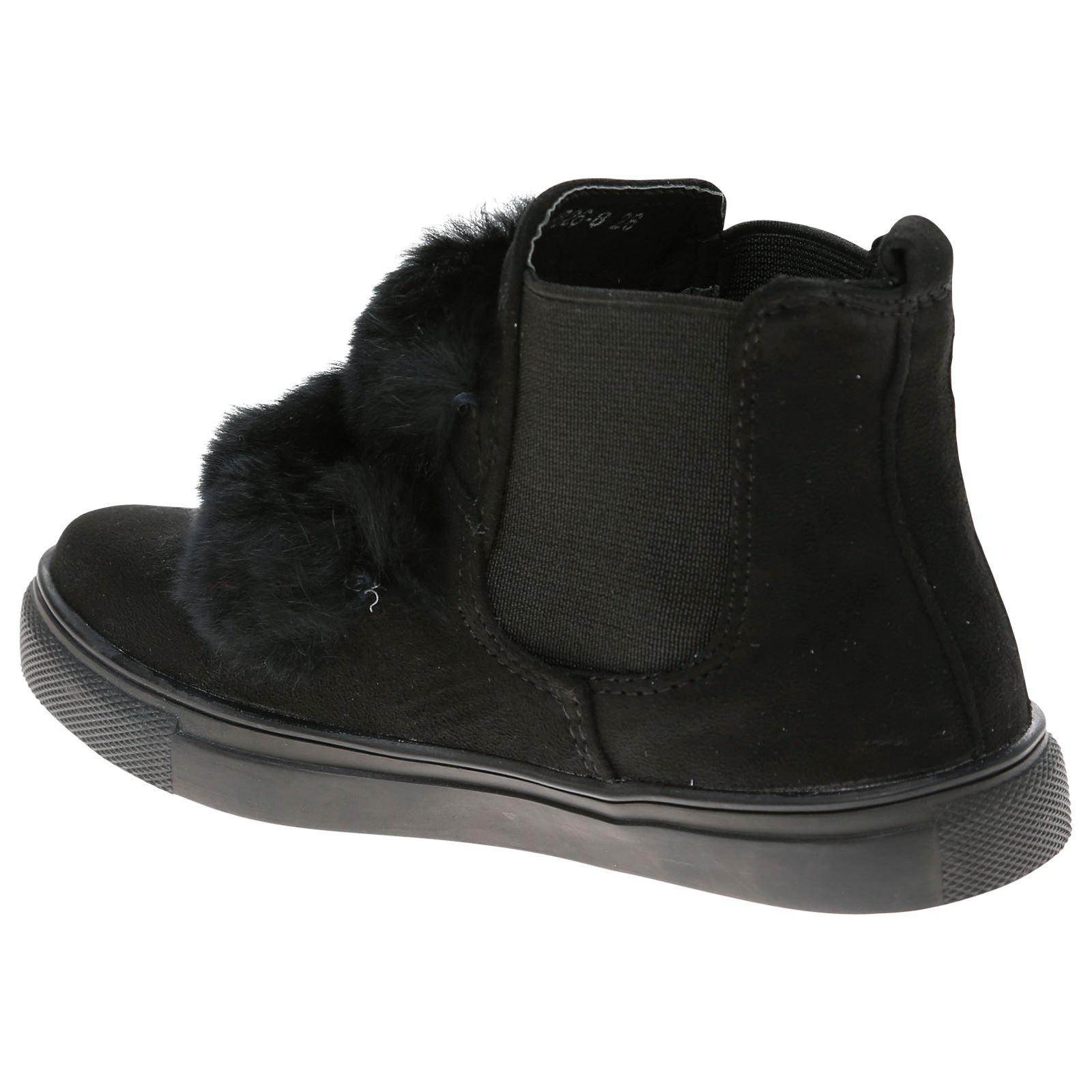 Lili Girls Kids Flat Low Heels High Top Trainers Plimsolls Fur Chelsea Boots New