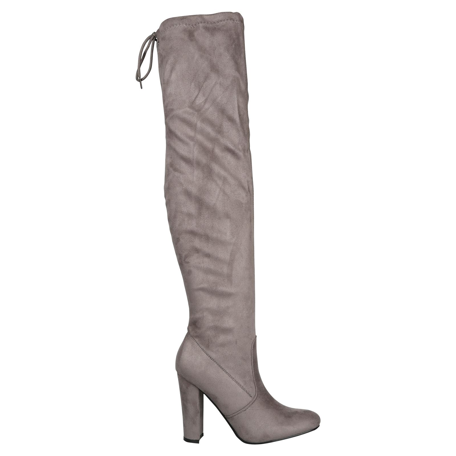 Iliana-Womens-Knee-High-Zip-Up-Adjustable-Pull-Strings-Mid-High-Block-Heel-Boots thumbnail 11