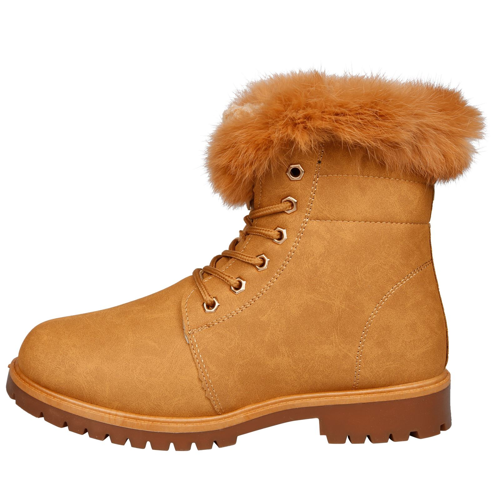 NEW-WOMEN-SHOES-LADIES-FUR-LINED-LOW-HEEL-LACE-UP-ANKLE-BOOTS-CASUAL-STYLE-SIZE thumbnail 12
