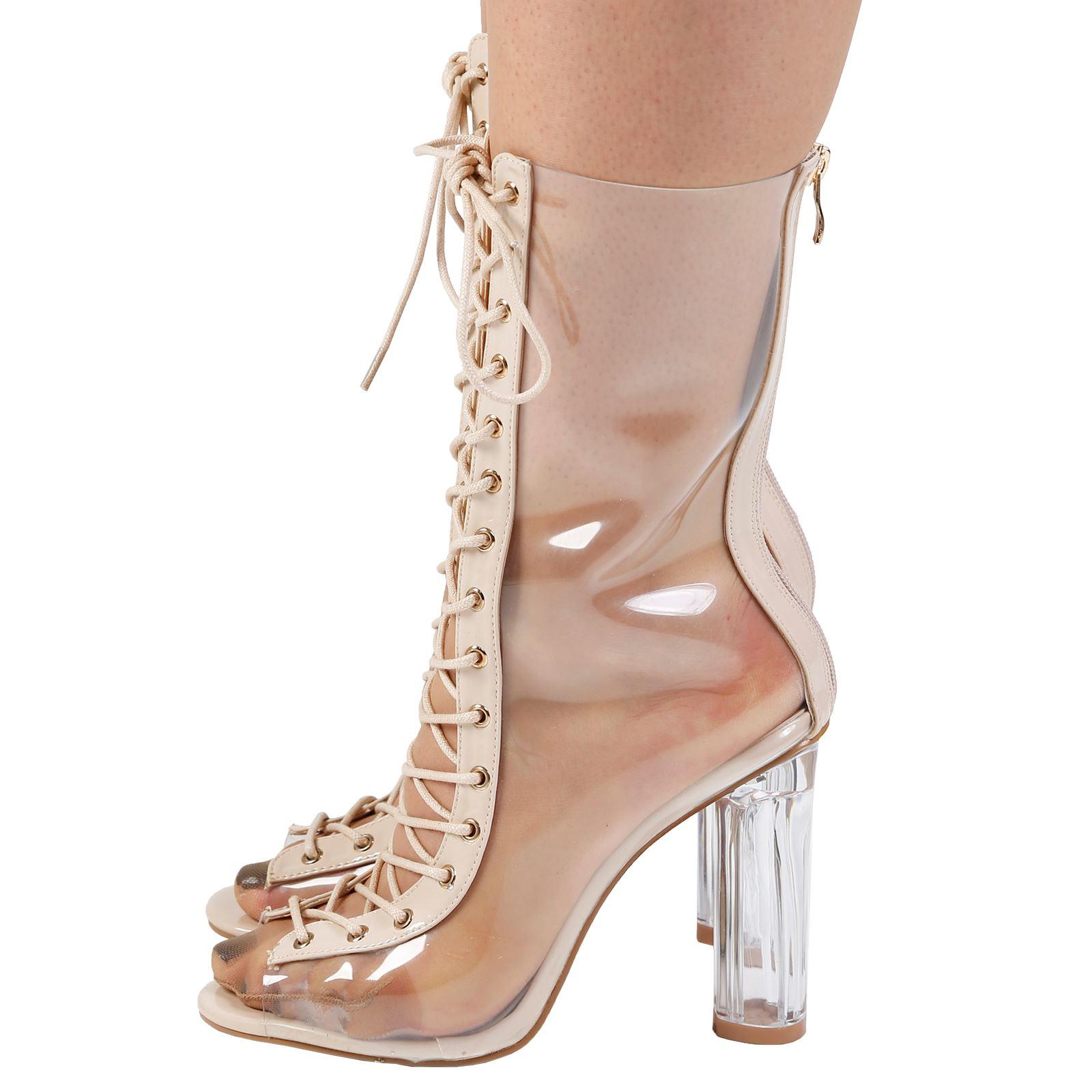 Mujer de las Señoras Botas al tobillo con Cordones de bloque de Perspex Transparente Tacón Alto Zapatos De Moda