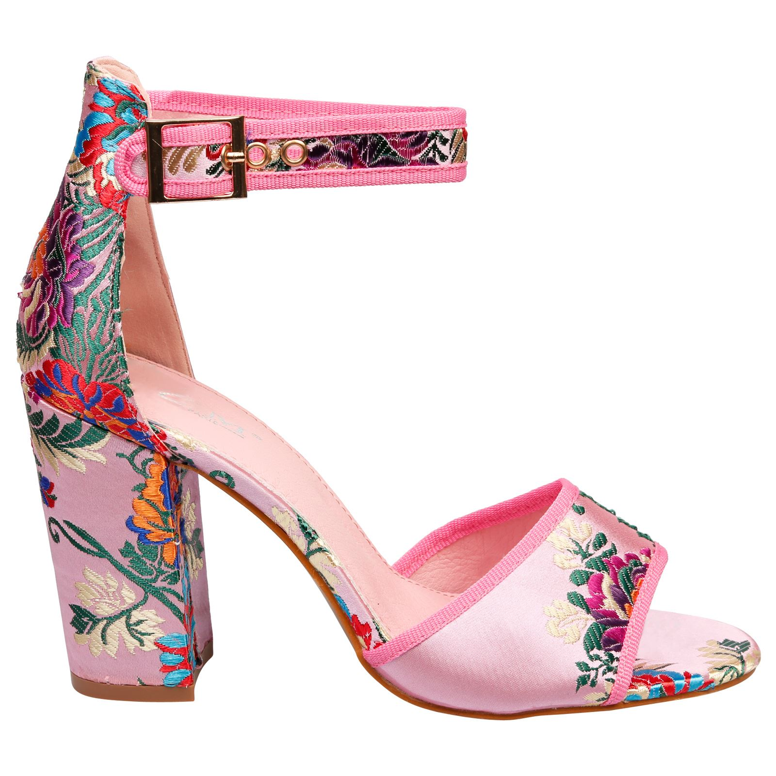 Kimber-Womens-Mid-High-Block-Heels-Peep-Toe-Floral-Sandals-Ladies-Shoes-Size-New