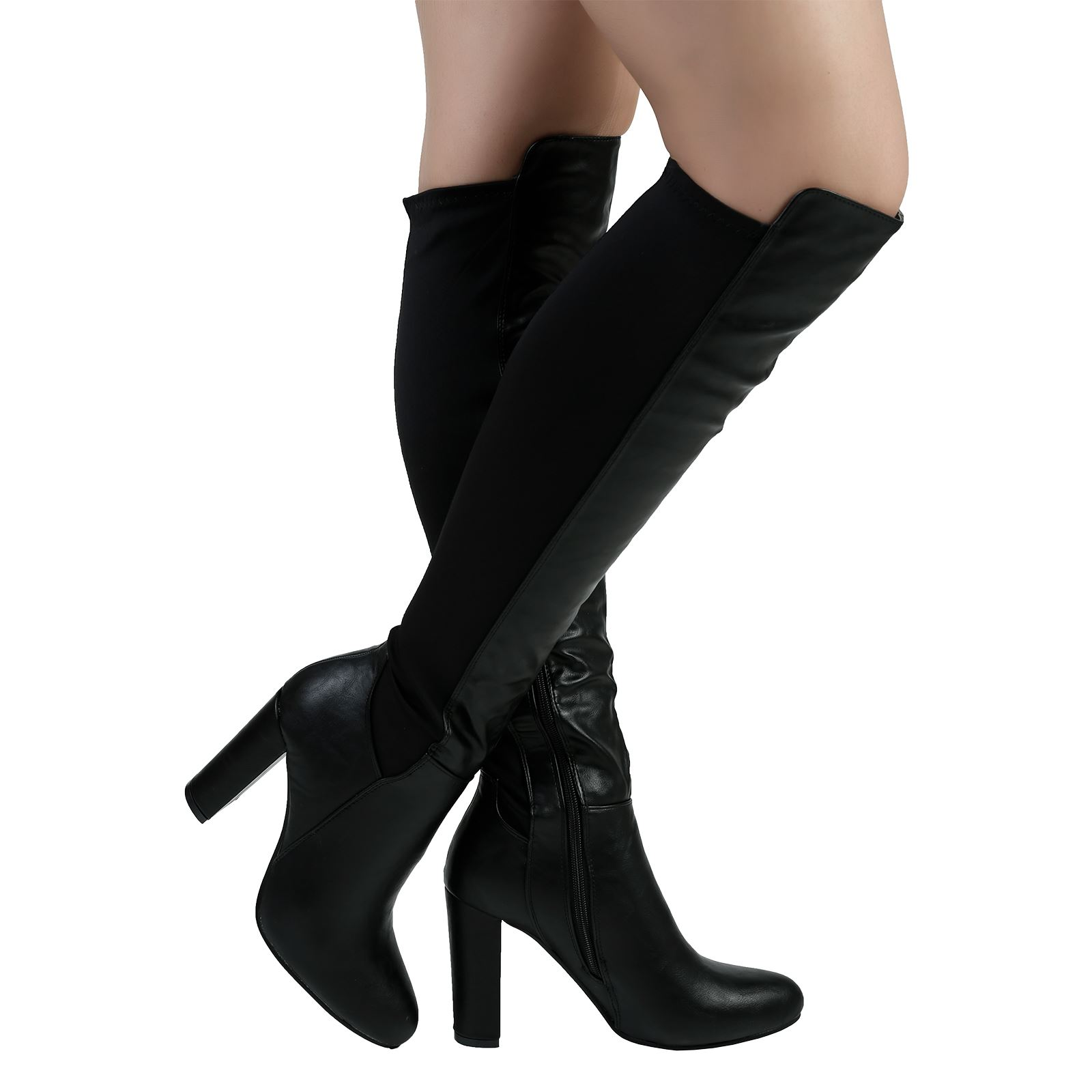 Womens stylish Faux Suede block high heels knee High Boots zip shoes casual Sz