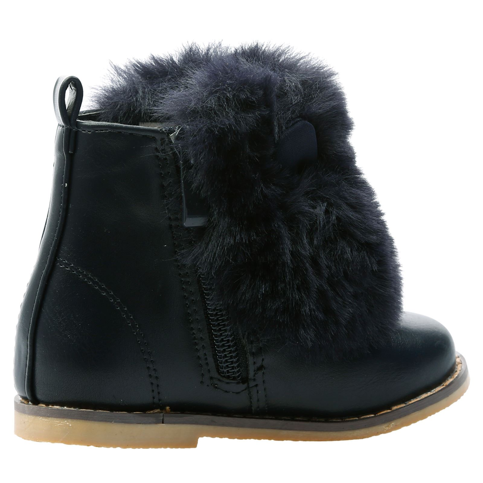 GIRLS ANKLE BOOTS KIDS CHILDRENS INFANTS FUR POM POM SHOES FLUFFY STYLE SIZE NEW