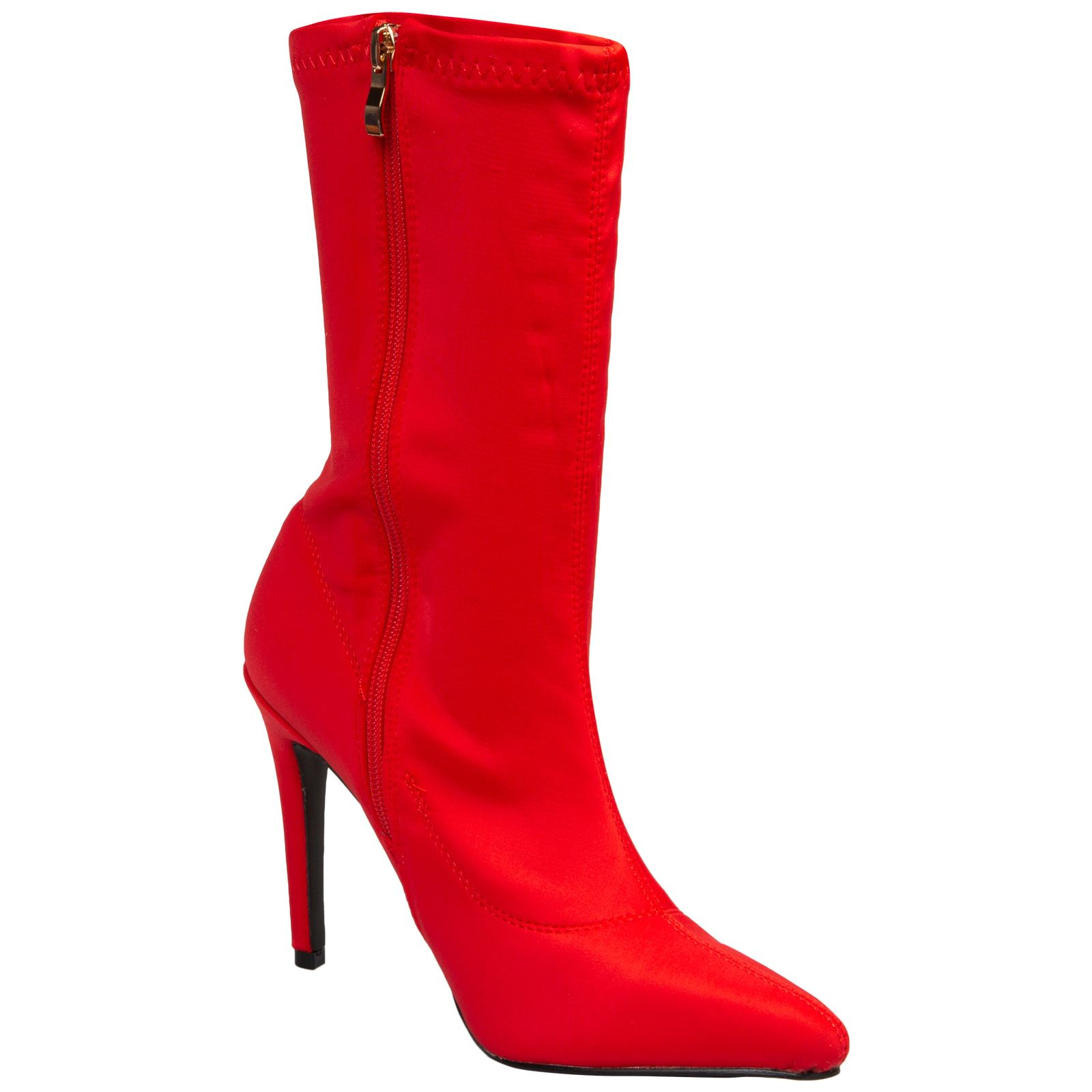 NEW-WOMENS-SHOES-LADIES-ANKLE-BOOTS-ZIP-UP-STRETCH-CALF-STILETTO-FASHION-CASUAL thumbnail 8