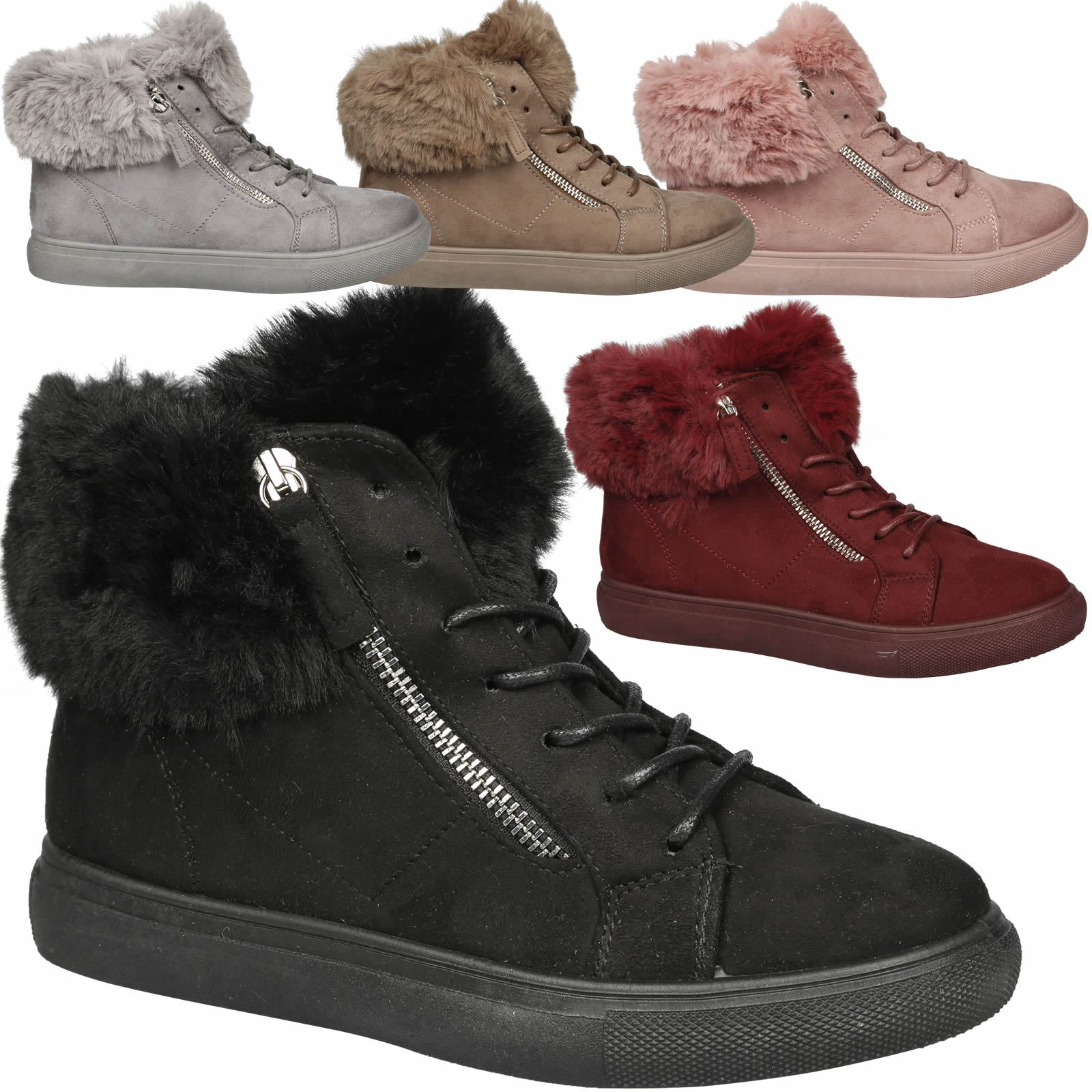 9abe5e6da0f988 Details about Kinsley Womens Flat Platform Lace Up Zip Detail Fur Lined Ankle  Boots Ladies