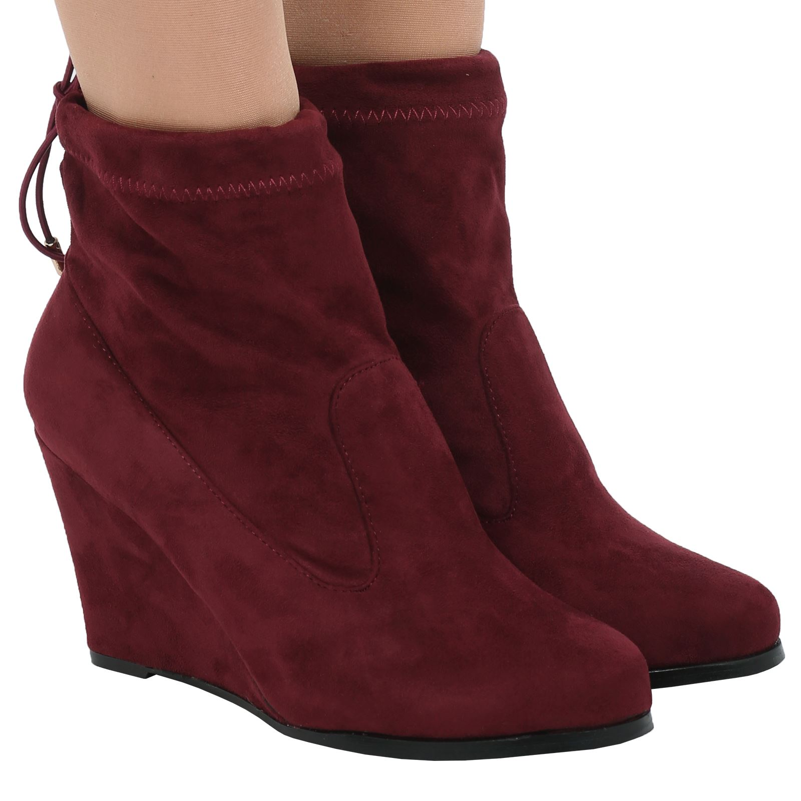 womens shoes ankle boots tie up top wedges heels