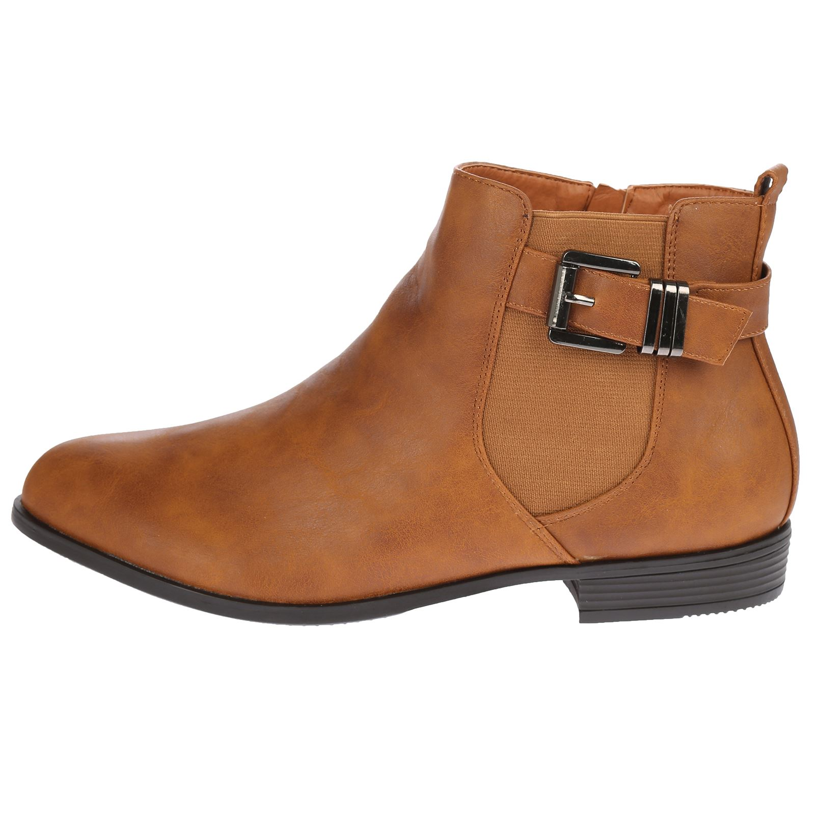 womens boots chelsea buckle ankle biker large size