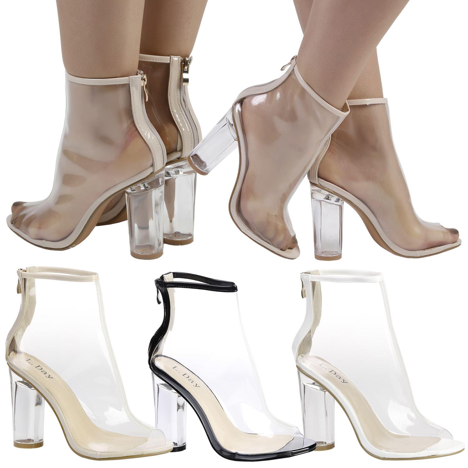 S387 - Ladies Perspex Clear Peep Toe High Heeled Ankle Boots - UK 3-8