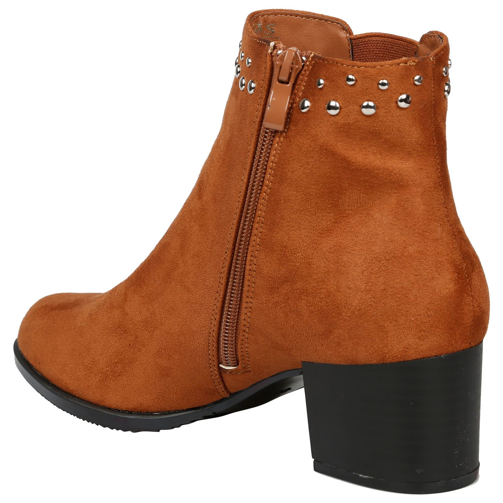 Luna-Womens-Low-Mid-Block-Heel-Studded-Chelsea-Zip-Up-Ankle-Boots-Casual-Ladies thumbnail 9