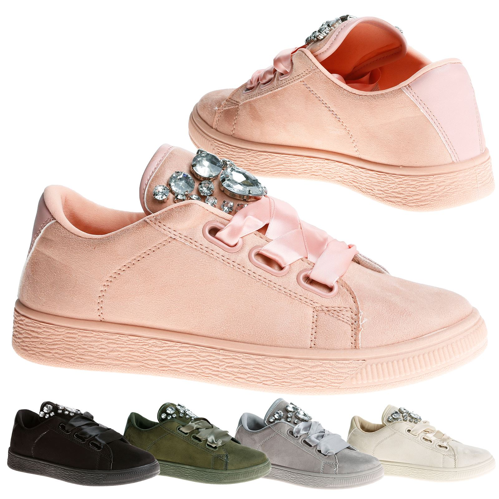 NEW LADIES WOMENS DESIGNER STYLE JEWEL LACE UP TRAINERS SNEAKERS SHOES SIZE