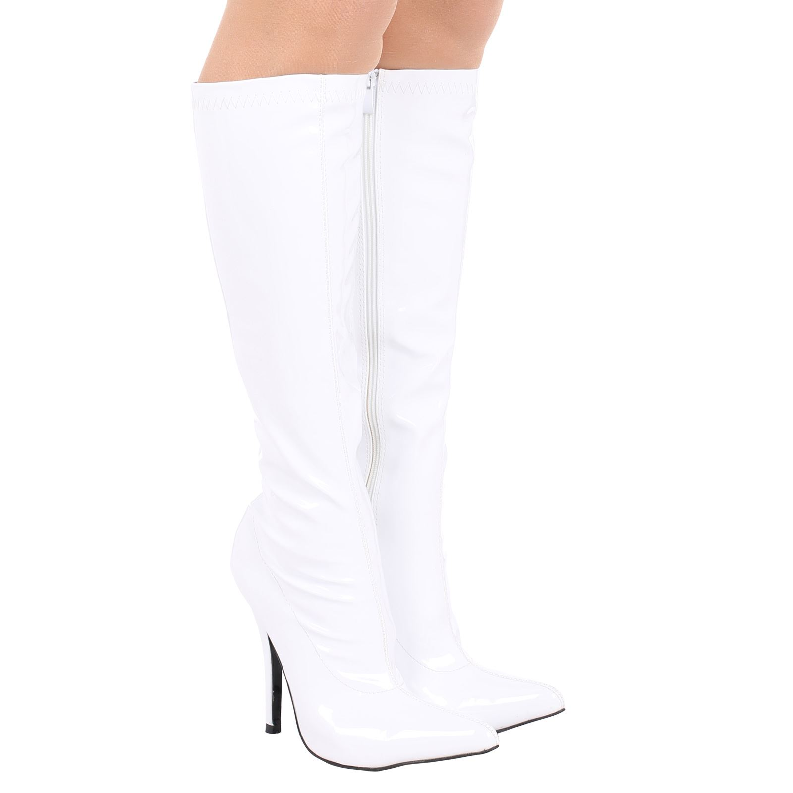 Candy-Womens-High-Stilettos-Heel-Mid-Calf-Knee-High-Ladies-Pointed-Toe-Boots-New