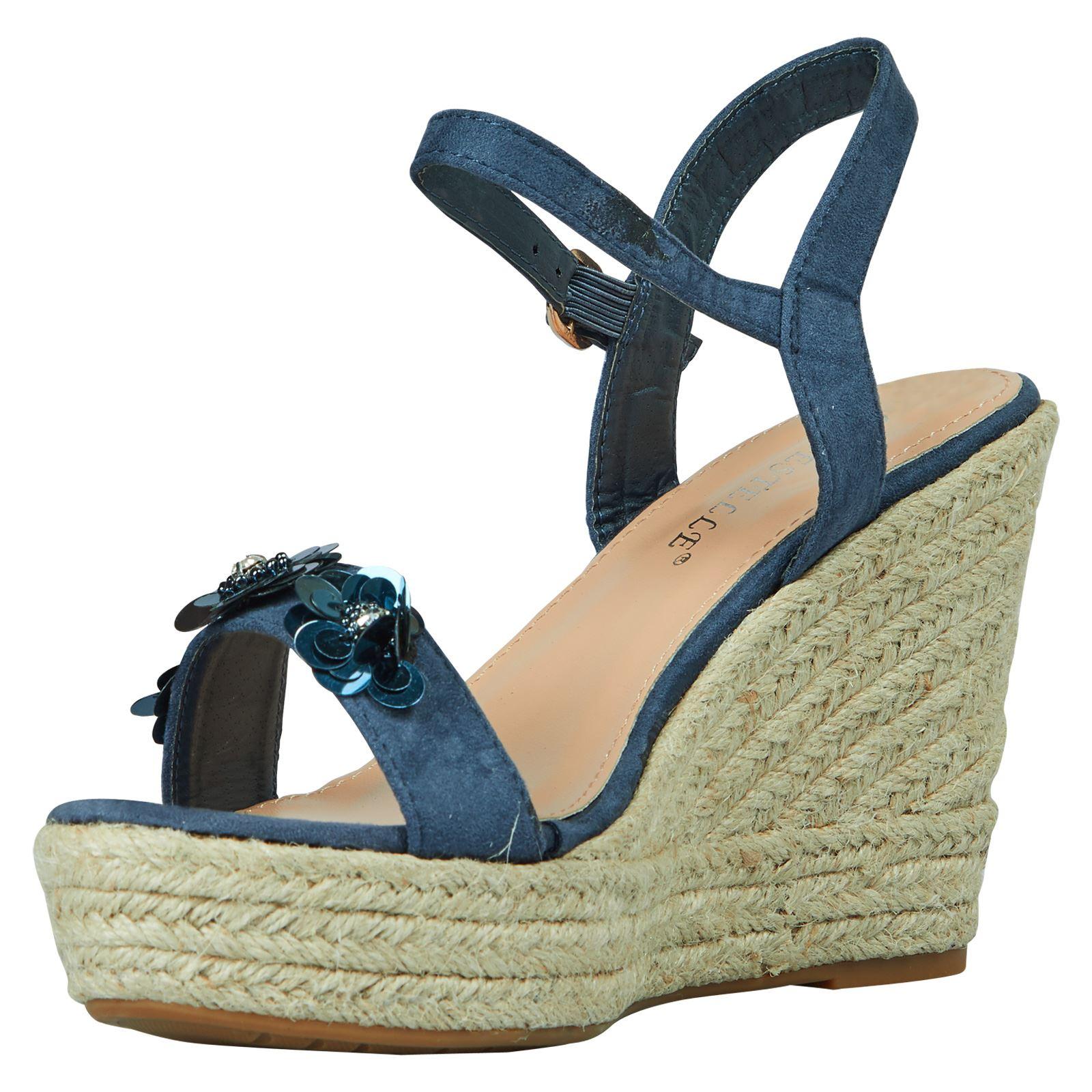 coleen womens high wedges heels platform sequin floral