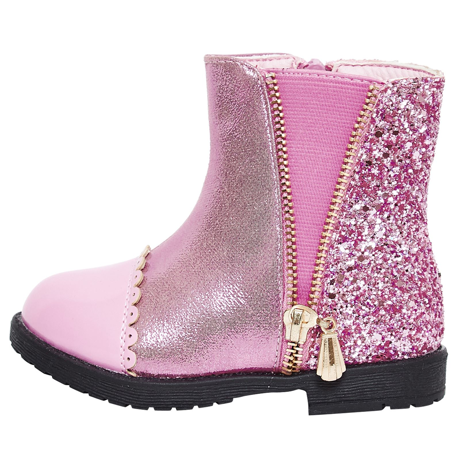 Neuf-Filles-Chaussures-Enfants-Bottines-Fermeture-Eclair-paillete-Casual-Style-Taille