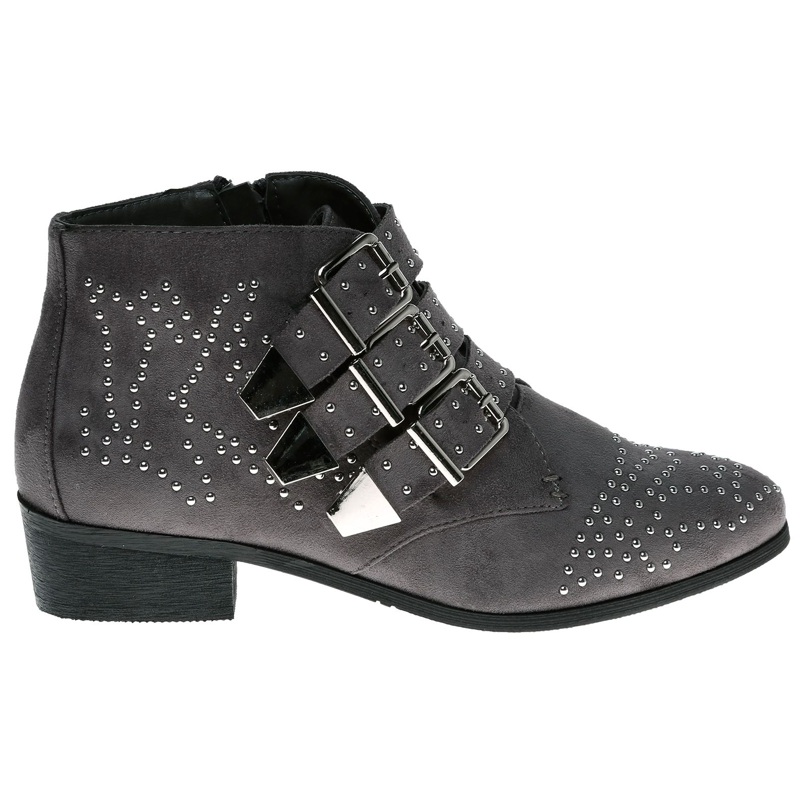 Liv-Womens-Flats-Low-Heels-Buckle-Strappy-Biker-Ankle-Boots-Ladies-Shoes-Studded thumbnail 19