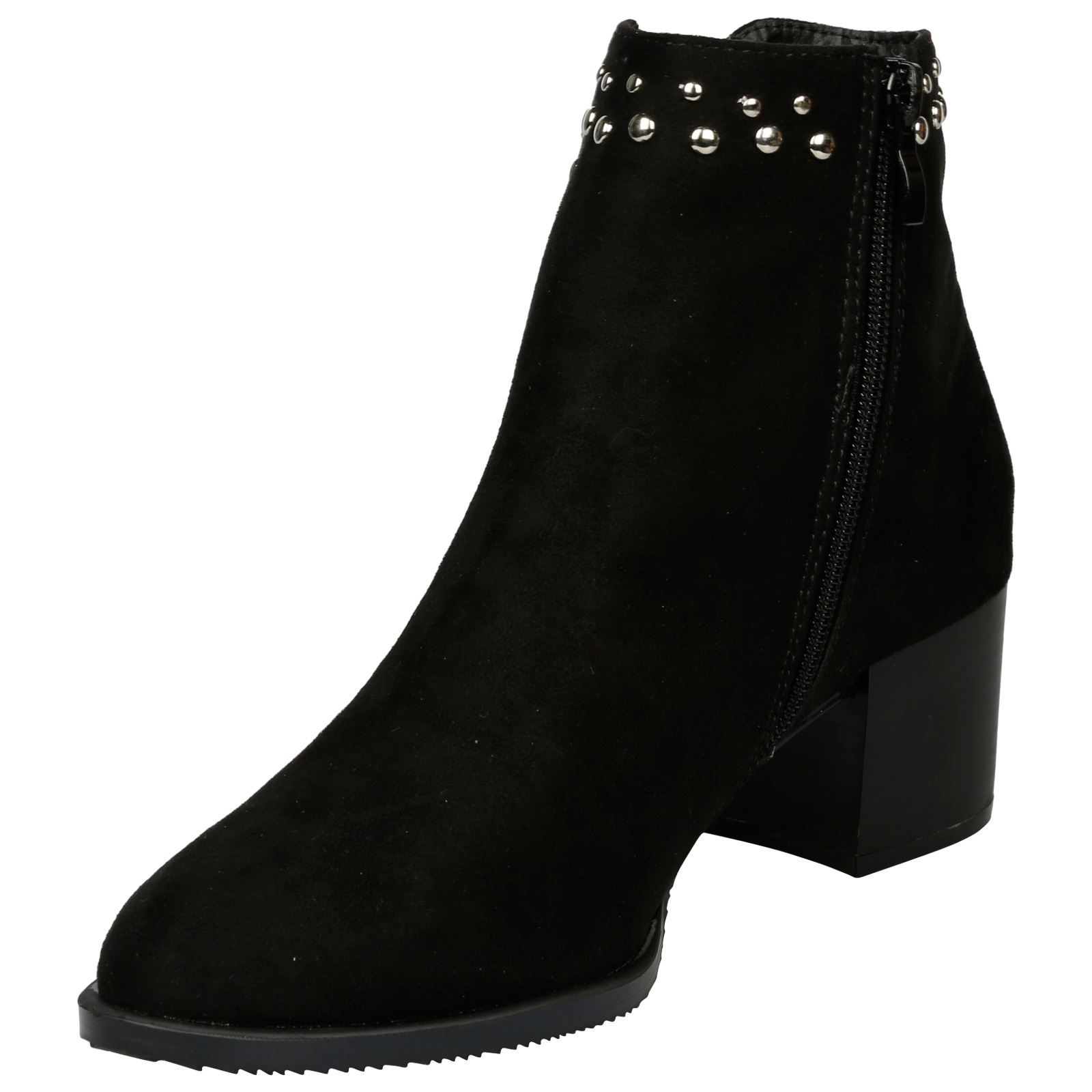 Luna-Womens-Low-Mid-Block-Heel-Studded-Chelsea-Zip-Up-Ankle-Boots-Casual-Ladies thumbnail 4