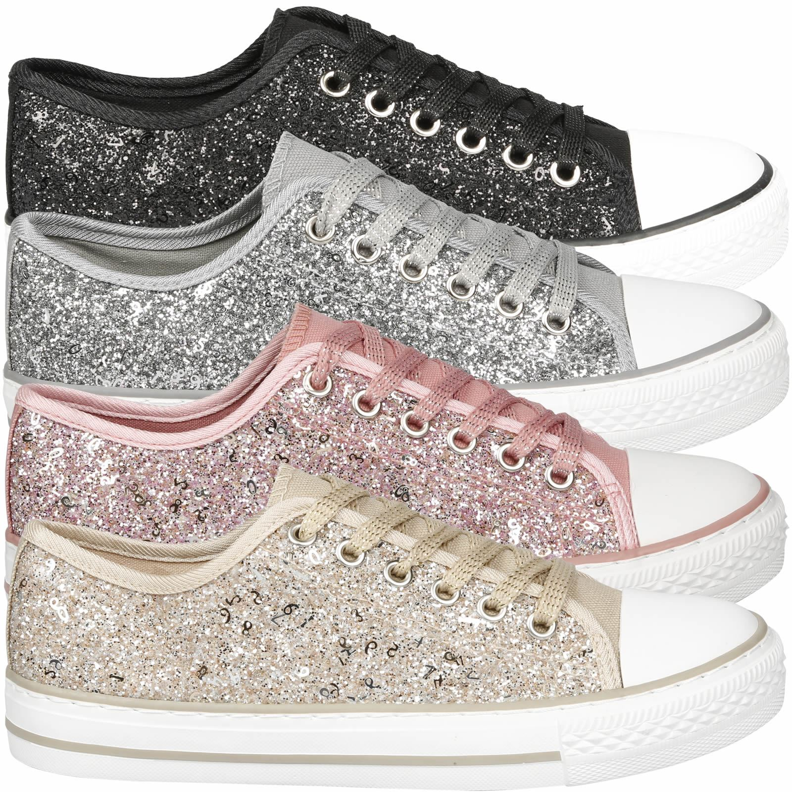 Details about Nola Womens Flat Platform Lace Up Glittery Trainer Pumps Sneakers  Ladies Shoes 5c0dacaa006