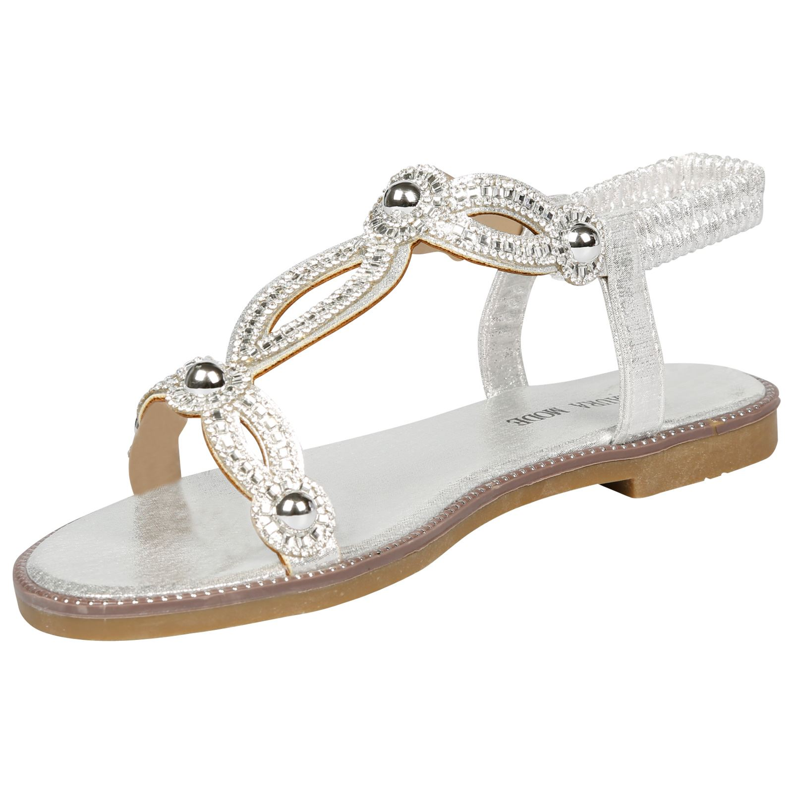 2bda5a177384 Elle Womens Flats Peep Toe Diamante Studded Sandals Ladies Summer ...