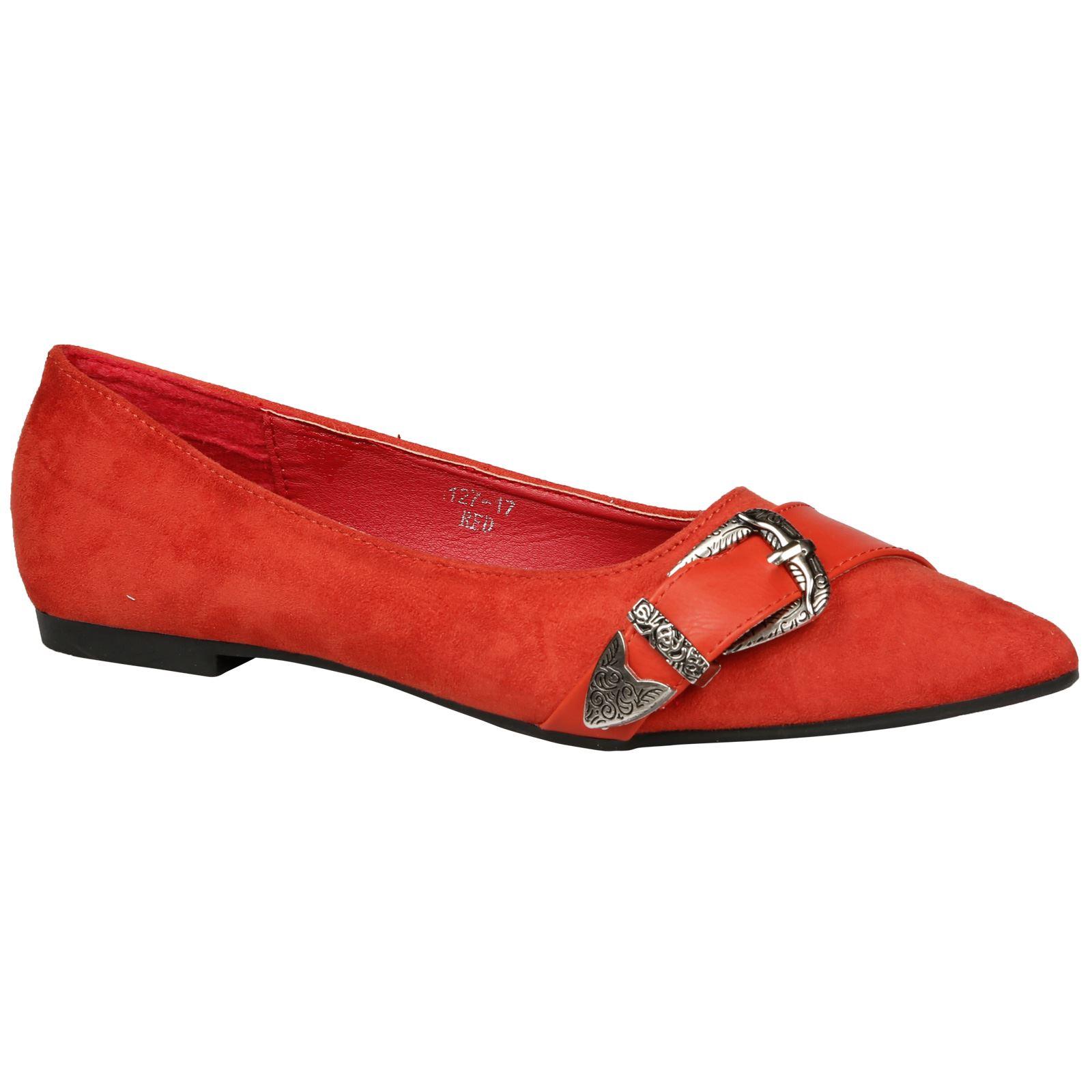 Zoie-Linea-Donna-Scarpe-Piatte-Ballerine-Con-Fibbia-e-Punta-Casual-Style-Size