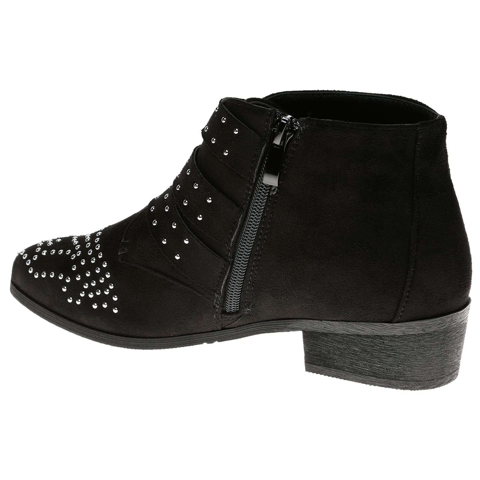 Liv-Womens-Flats-Low-Heels-Buckle-Strappy-Biker-Ankle-Boots-Ladies-Shoes-Studded thumbnail 13