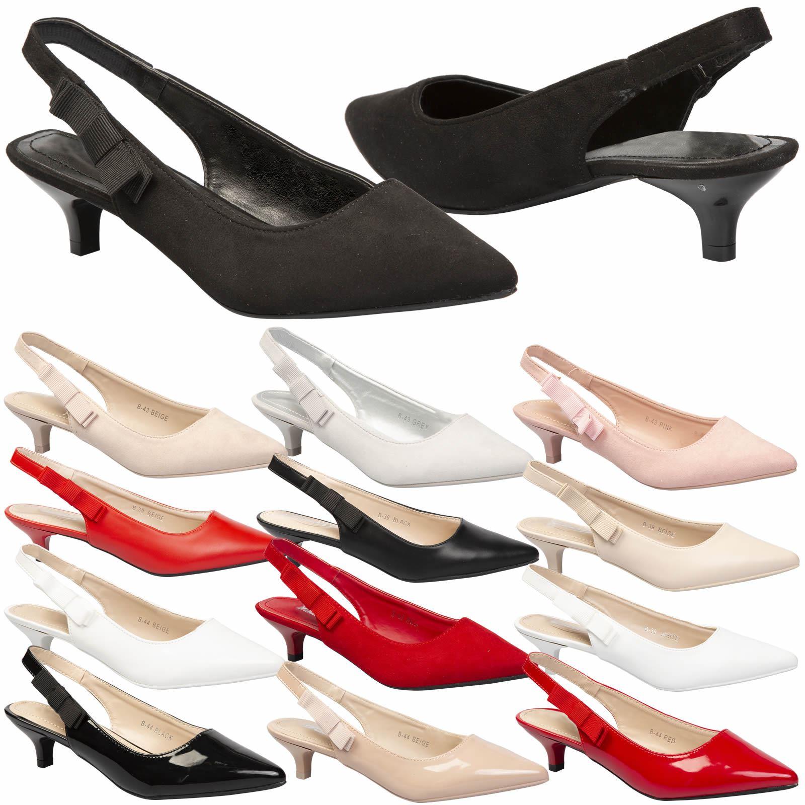 011ee574e1e Alora Womens Low Mid Kitten Heel Slip On Slingback Pumps Ladies Court Shoes  Size