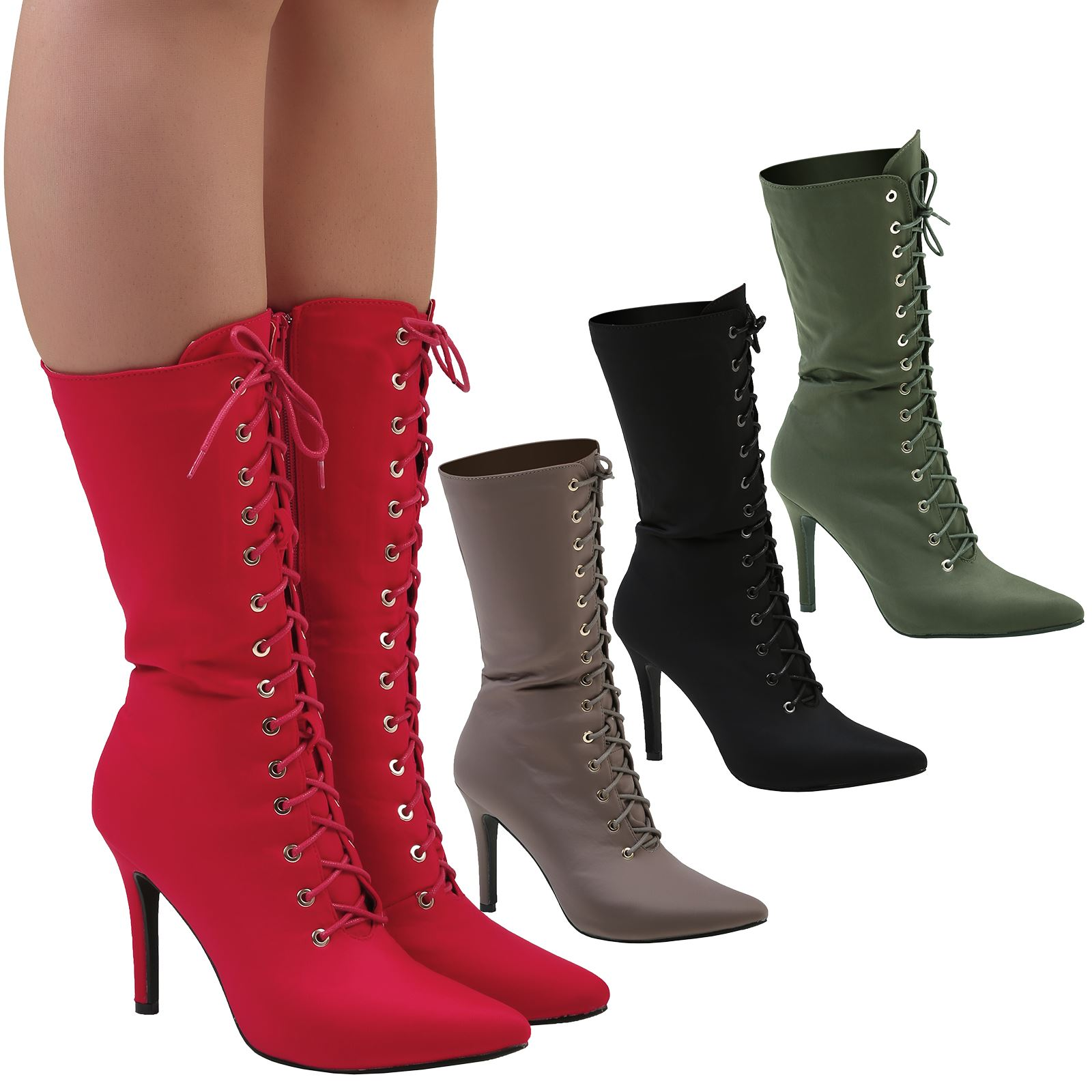 4ef77ad53be Details about Keri Womens High Stiletto Heels Zip Lace Up Mid Calf Boots  Ladies Shoes Size New