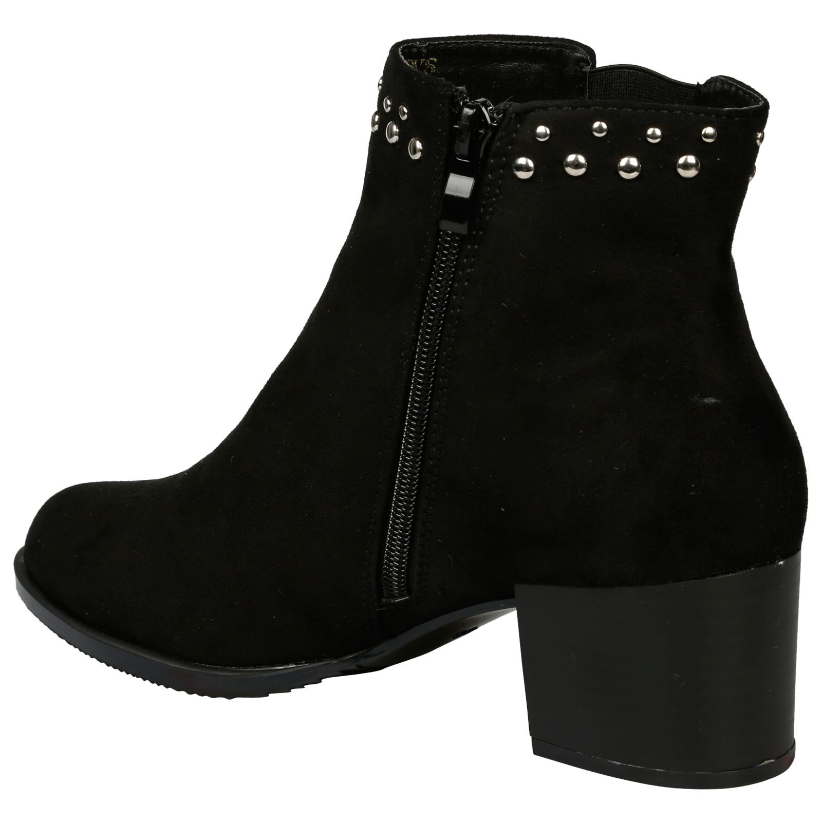 Luna-Womens-Low-Mid-Block-Heel-Studded-Chelsea-Zip-Up-Ankle-Boots-Casual-Ladies thumbnail 5